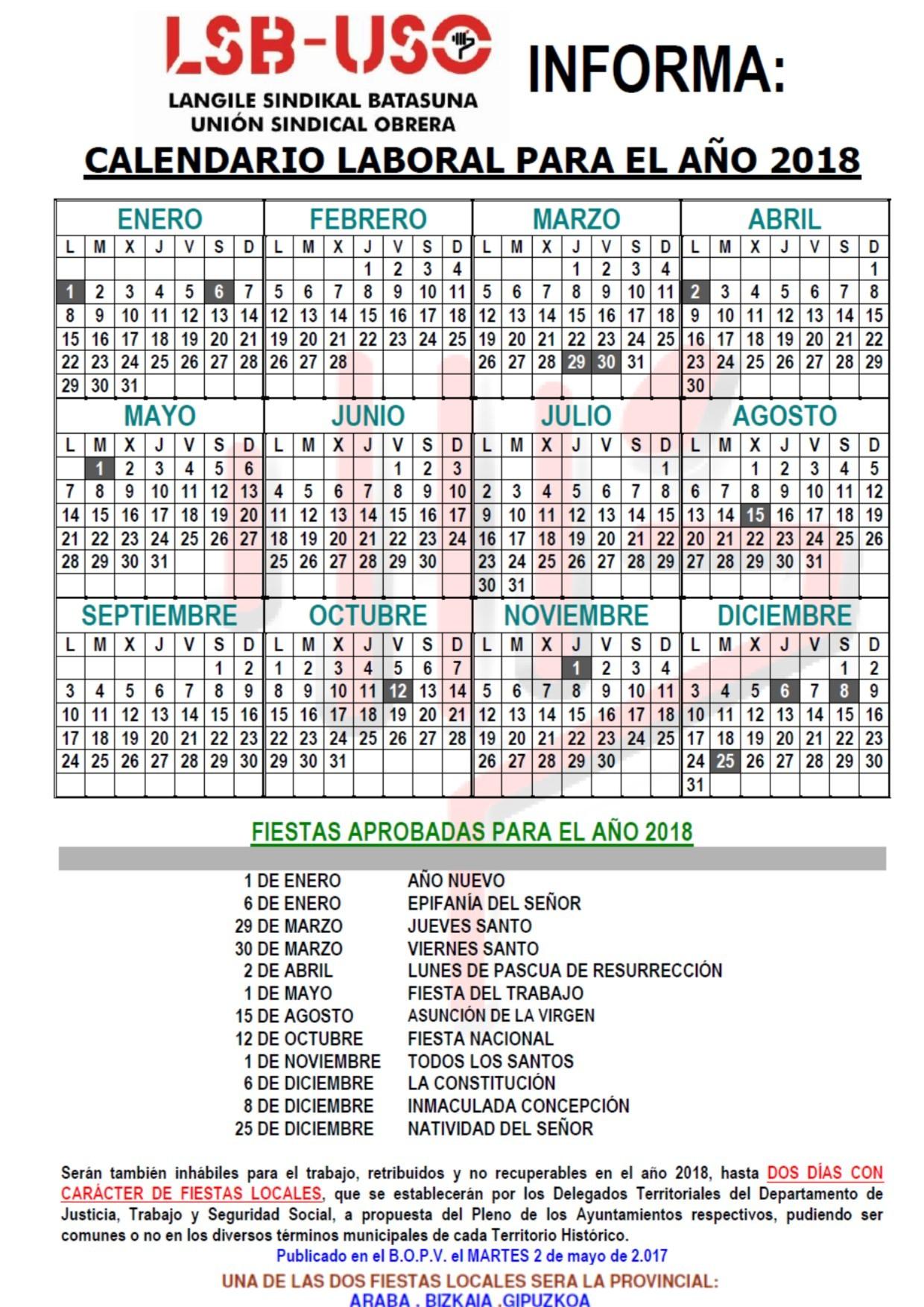 Calendario 2019 Festivos Bizkaia Más Populares Calendario Laboral Boe 2019 Seonegativo