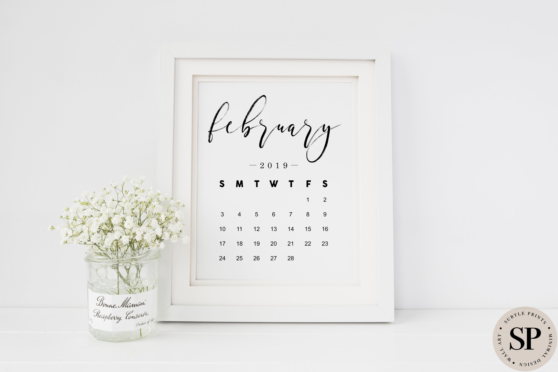 February Calendar 2019 Print Pregnancy Announcement Printable Wall Art Newborn Print Black And White Monthly Calendar DIGITAL DOWNLOAD