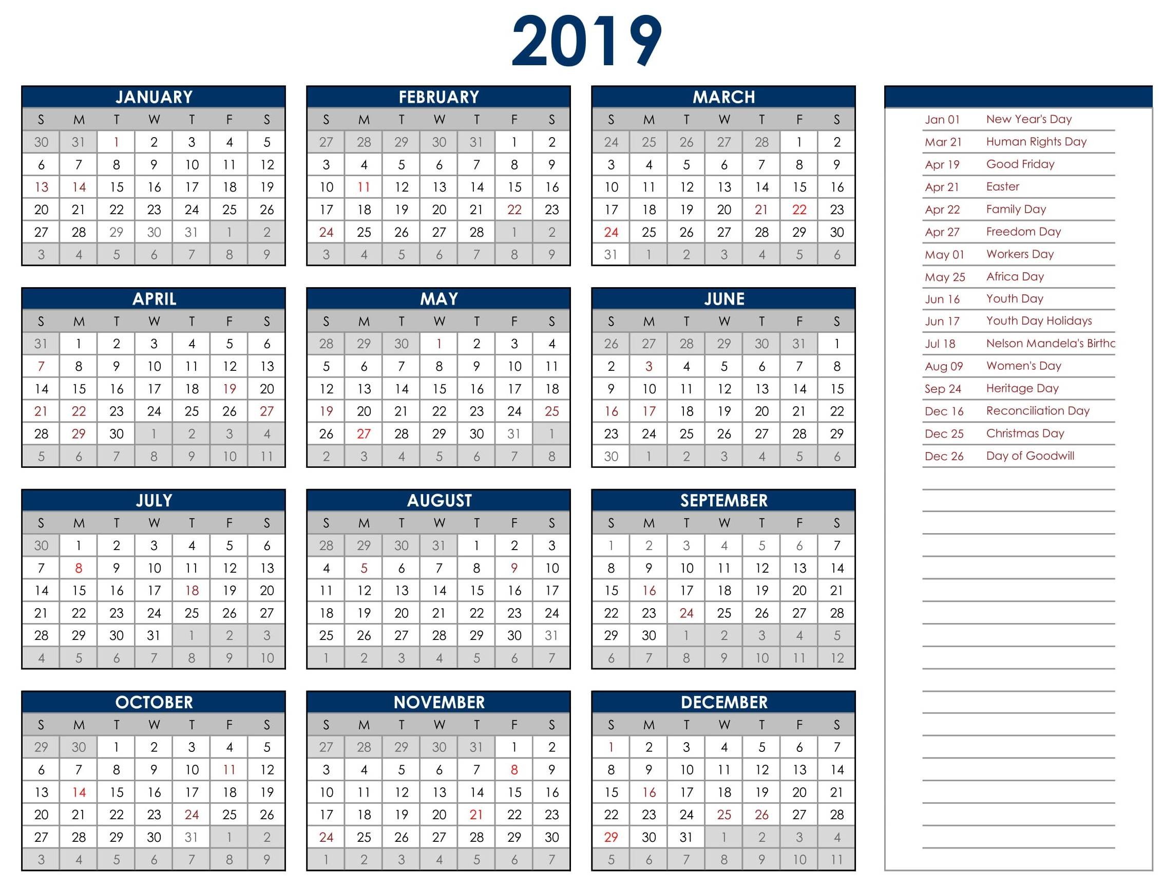 2019 yearly calendar template excel south africa