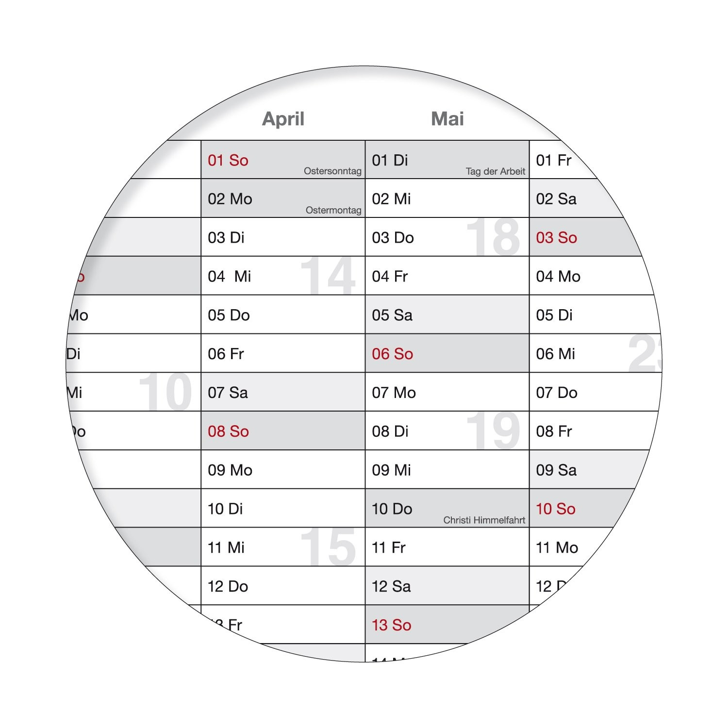 Calendario anual de pared con d­as festivos DIN A0 blanco y gris