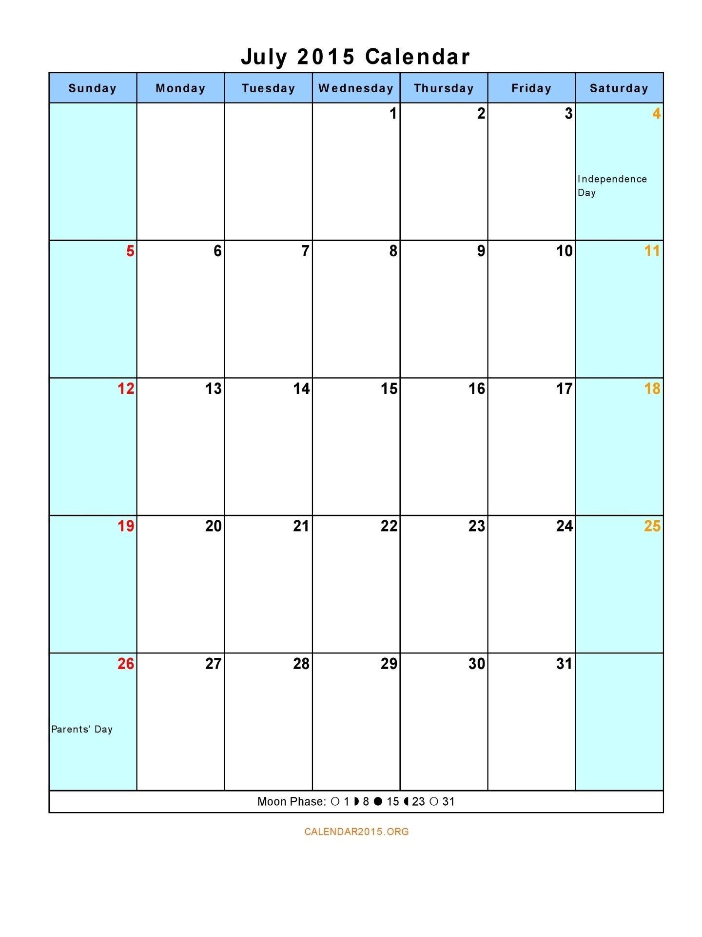 July 2015 Calendar Printable 12