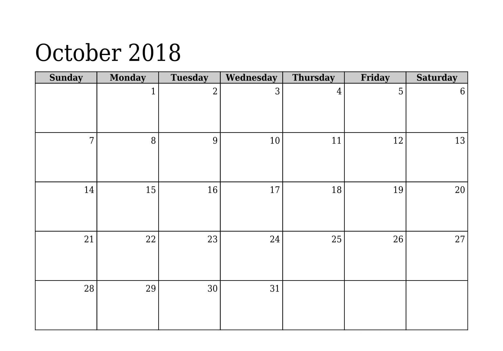 October 2018 Printable Calendar Monthly Planner