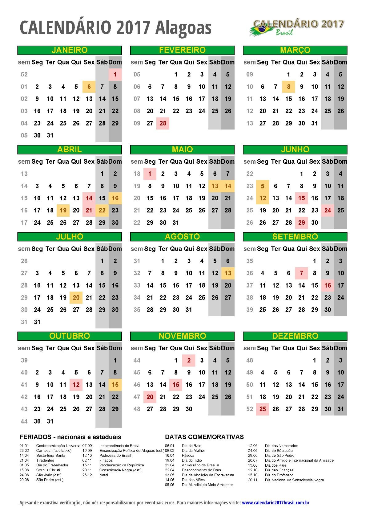 Conhecido CALENDRIO 2017 para IMPRIMIR feriados HG15