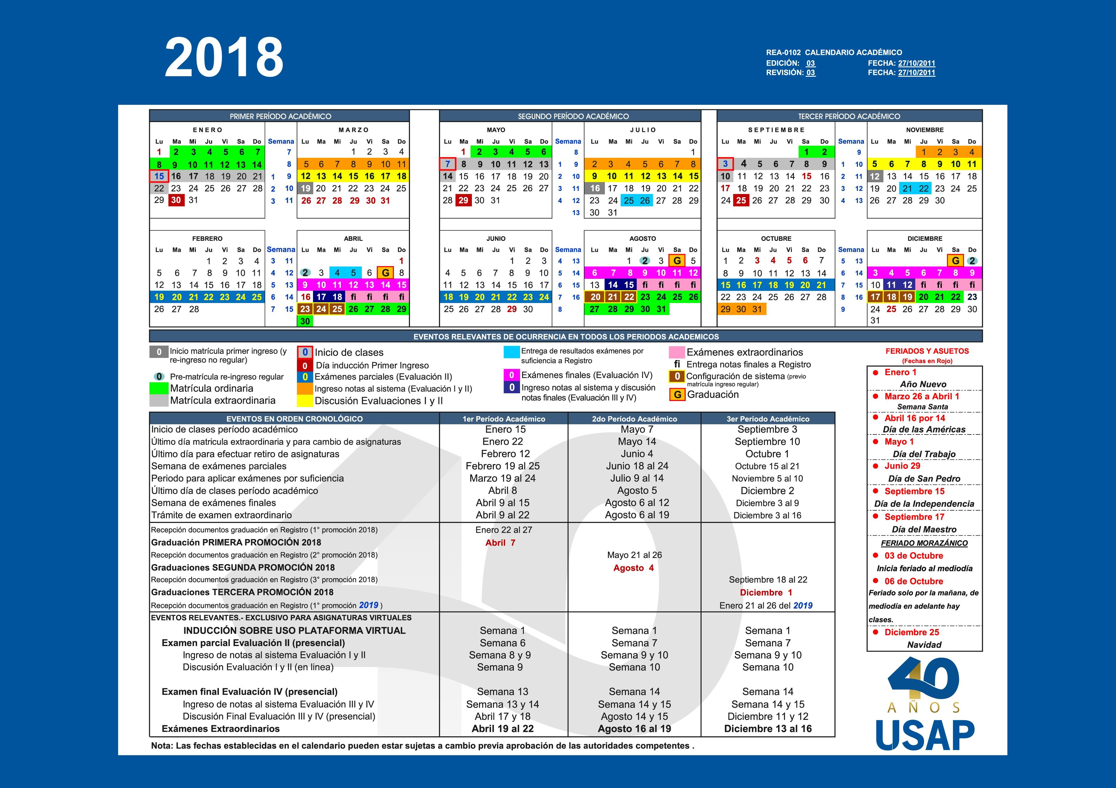 Calendario Académico 2018 en formato pdf