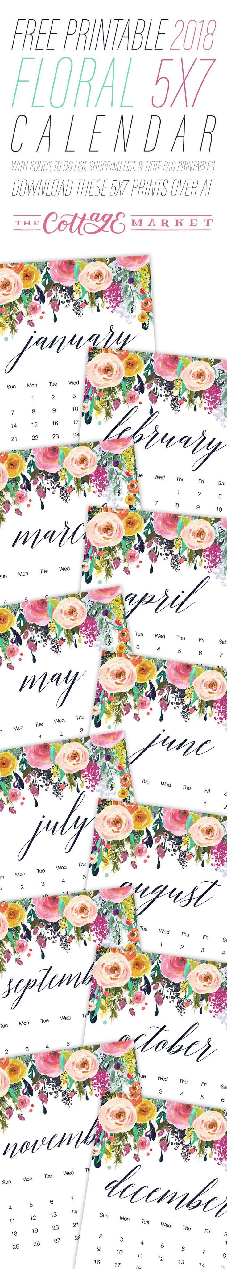 Free Printable 2018 Floral 5—7 Calendar