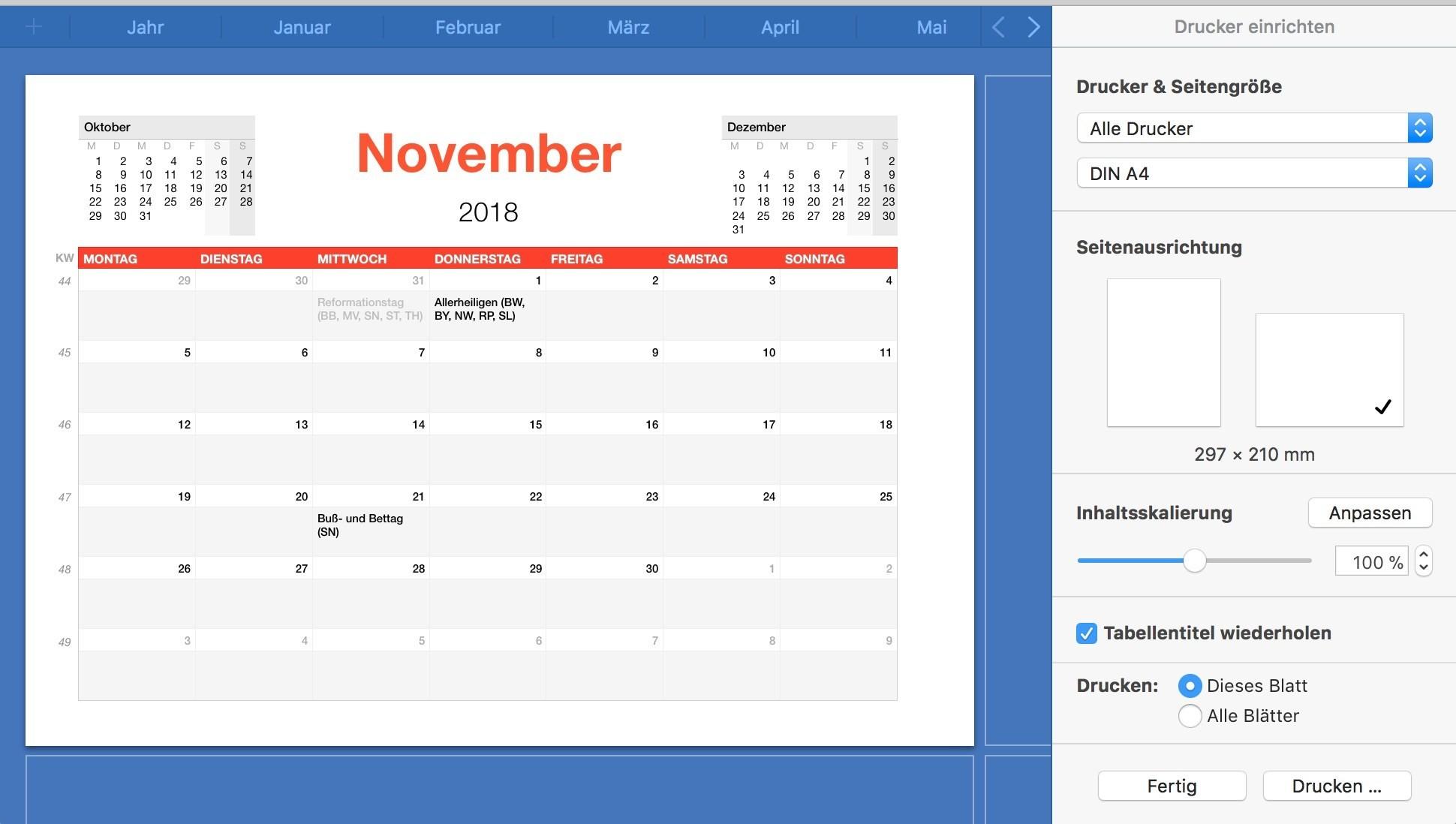 Numbers Vorlage Kalender 2018 Numbersvorlagen De
