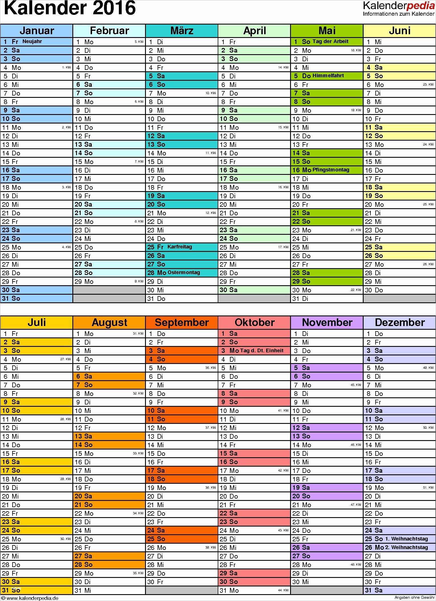 Jahreskalender 2016 Drucken Best Excel Vorlage Kalender Schön Kalender 2016 In Excel Zum Ausdrucken