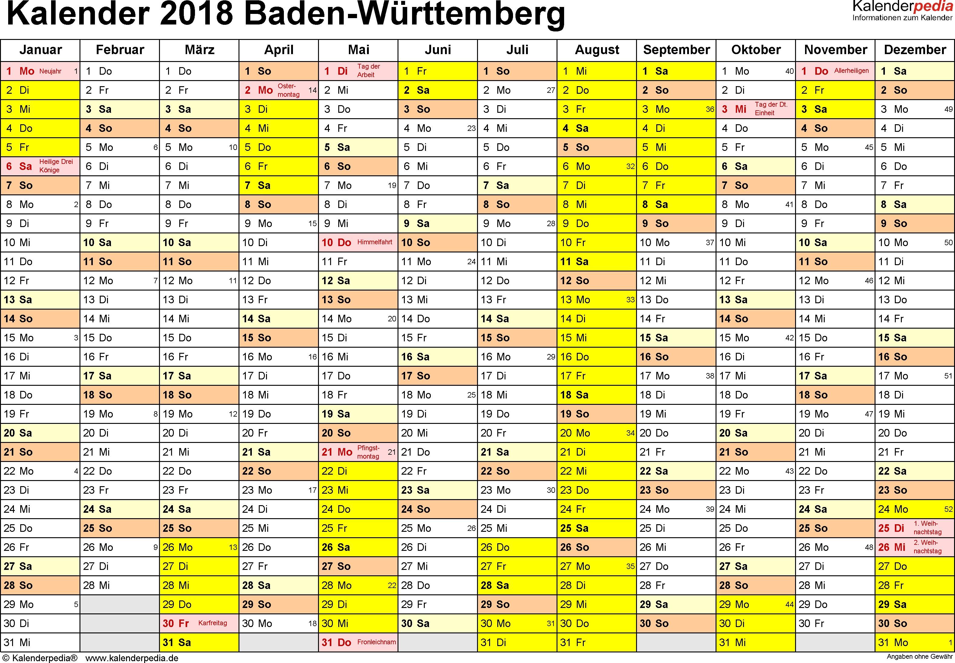 Vorlage 1 Kalender 2018 für Baden Württemberg als Word Vorlagen Querformat
