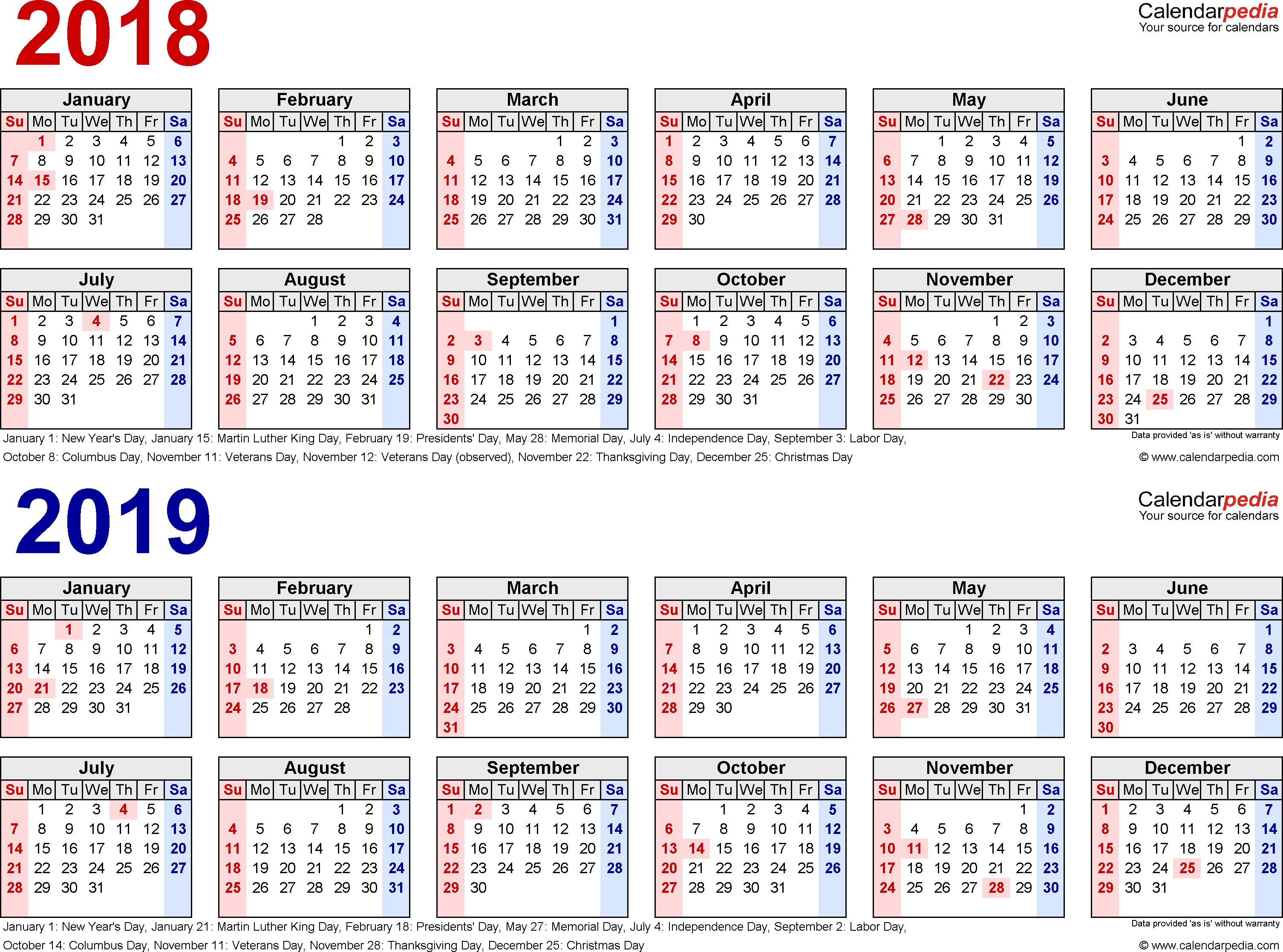 Download Kalender 2019 Excel With 2018 Calendar Free Printable Two Year Calendars