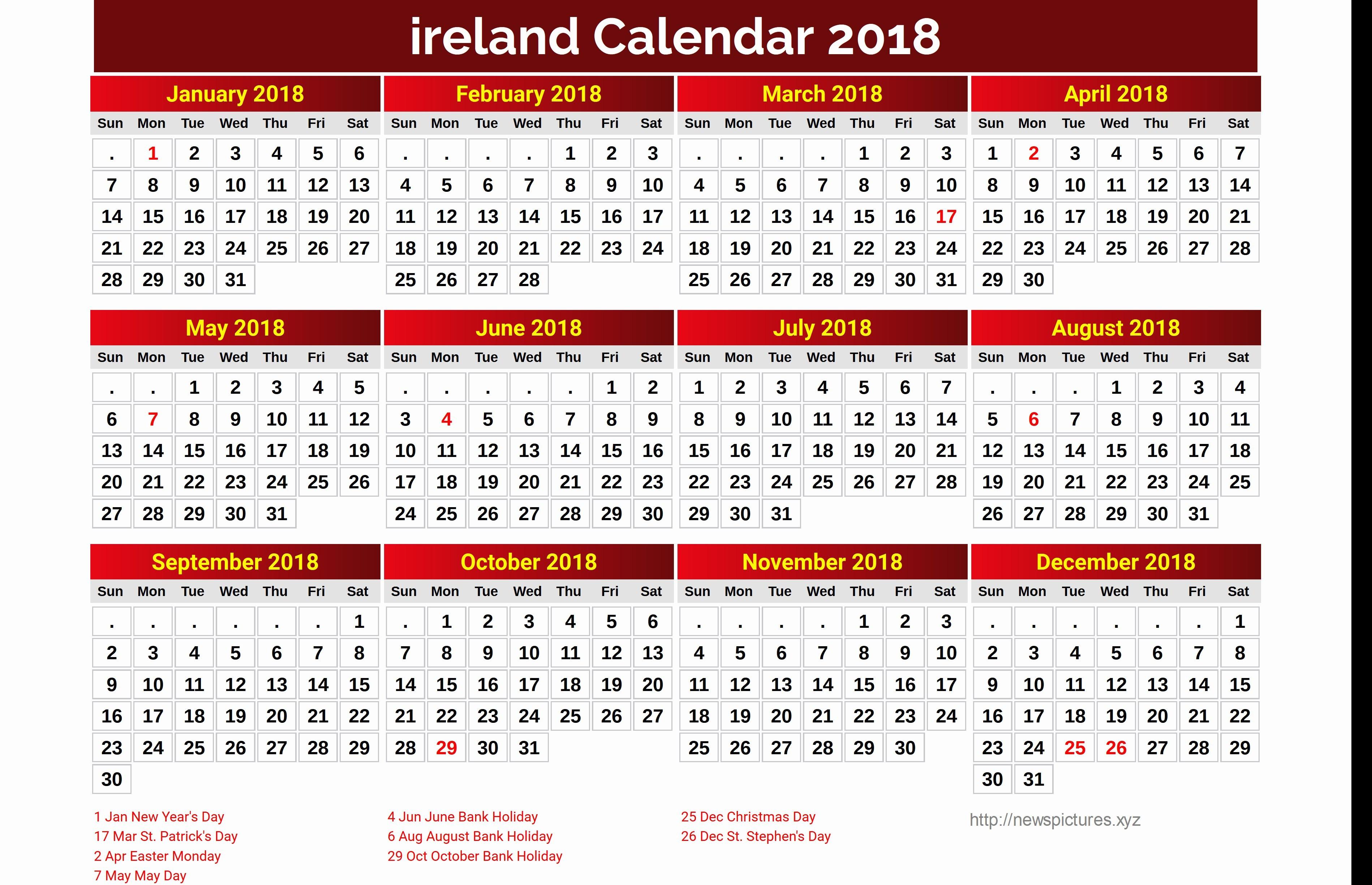 Bank Holidays Usa · Luxury 30 Design Printable Monthly Calendar 2018 Ireland