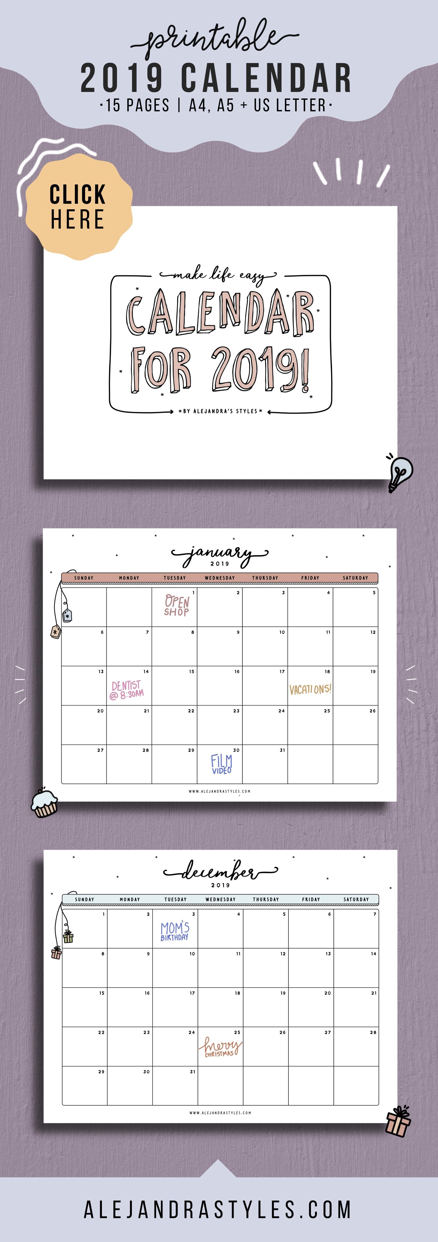 Calendar 2019 to Download Más Recientes 2019 Desk Calendar Printable Planner Instant Digital Download
