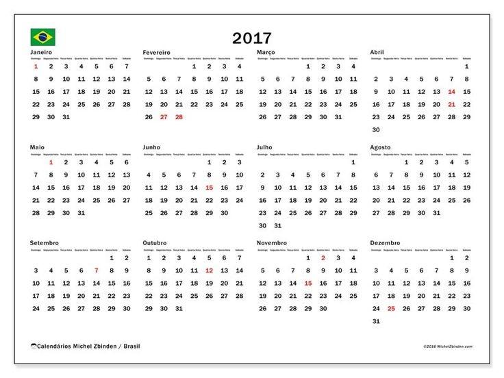 2017 calendário anual