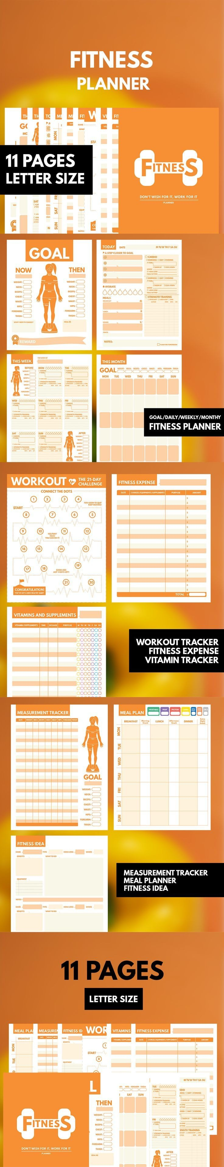Fitness Planner Printable Letter Workout Planner Fitness Journal Printable Health Planner Exercise Planner Weekly Daily Workout