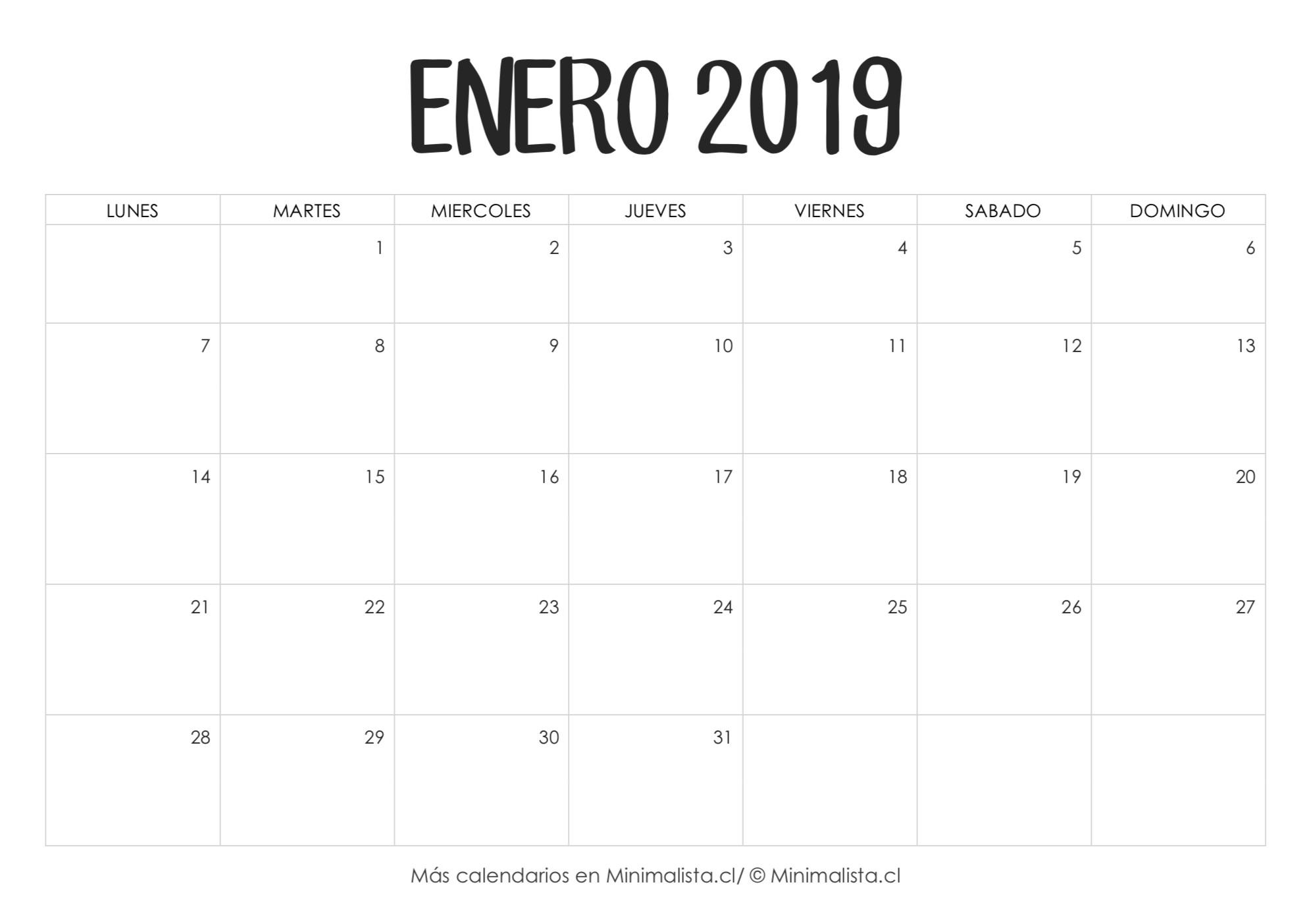 Calendario Enero 2019 para Imprimir
