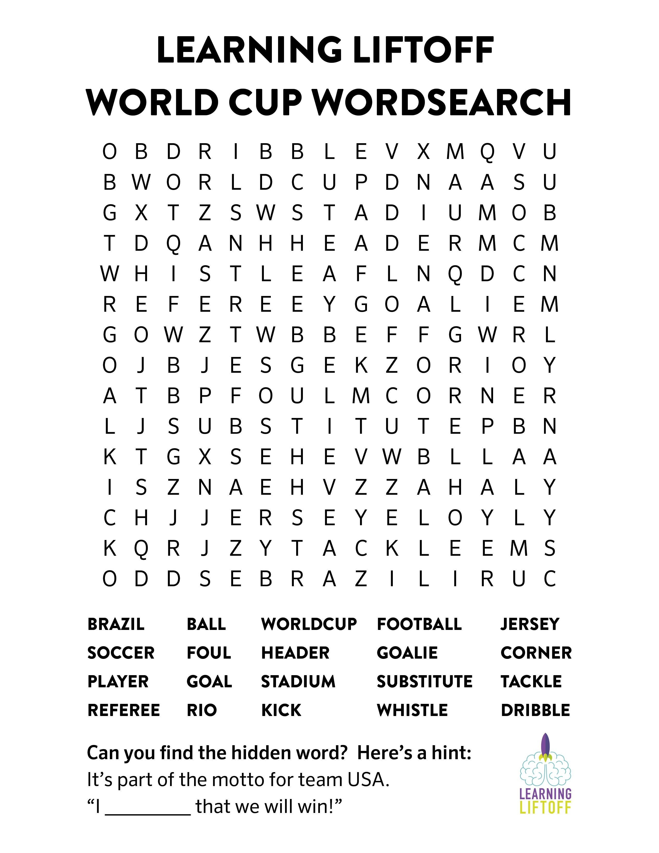 Download our free printable World Cup word search featuring soccer words For more free printables be sure to head over to our activity center