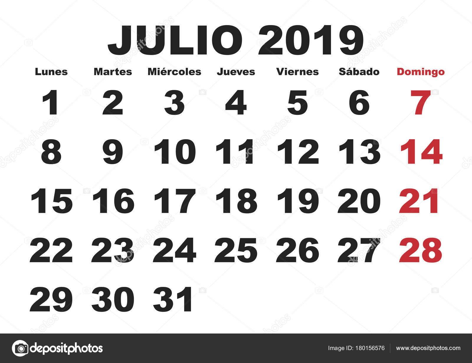 Měsce července v roce 2019 Nástěnn½ kalendář ve Å¡panělÅ¡tině Julio 2019 Calendario 2019 — Vektor od alfonsodetomas