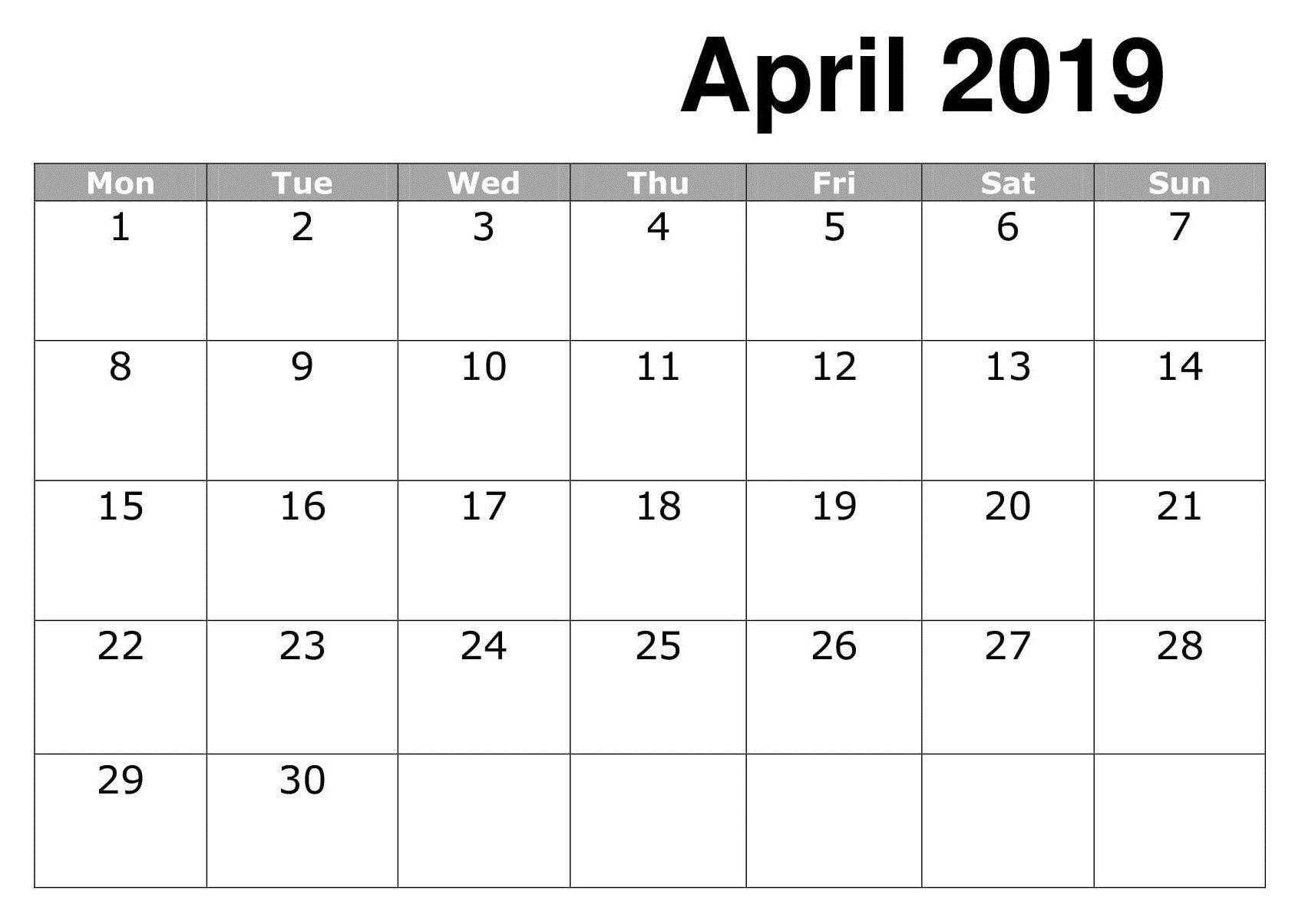 line April 2019 Calendar Printable