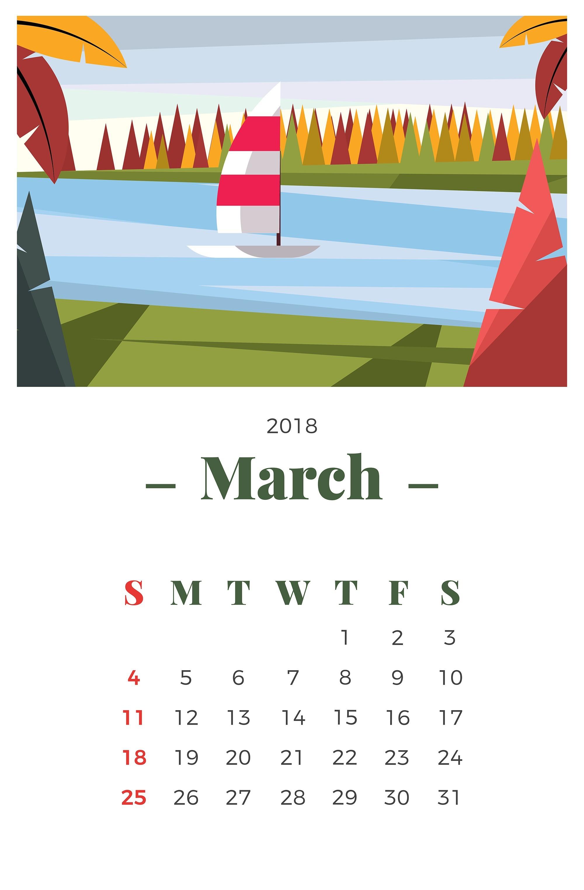 2019 para imprimir gratis Calendario de paisaje de marzo de 2018 Descargue Gráficos y Vectores Gratis