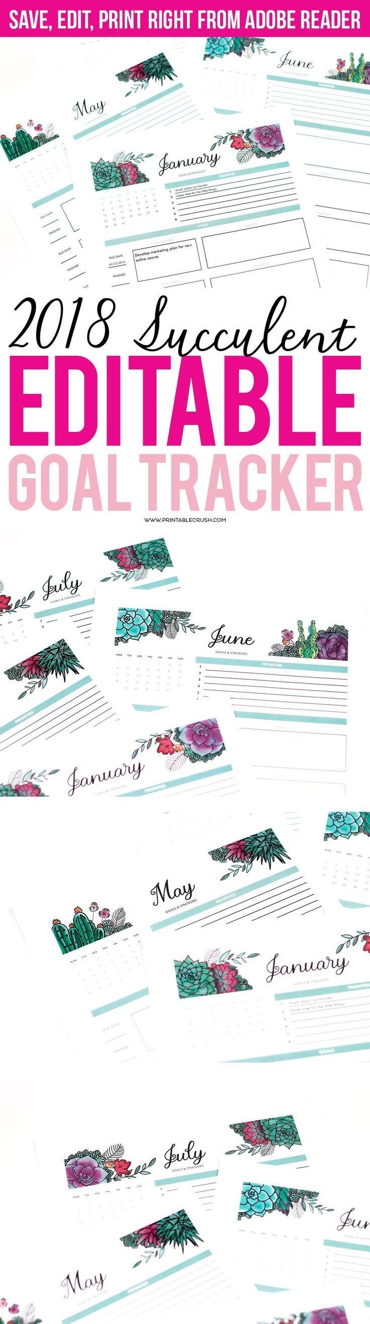 Succulents Editable 2018 Goal Tracker Printable