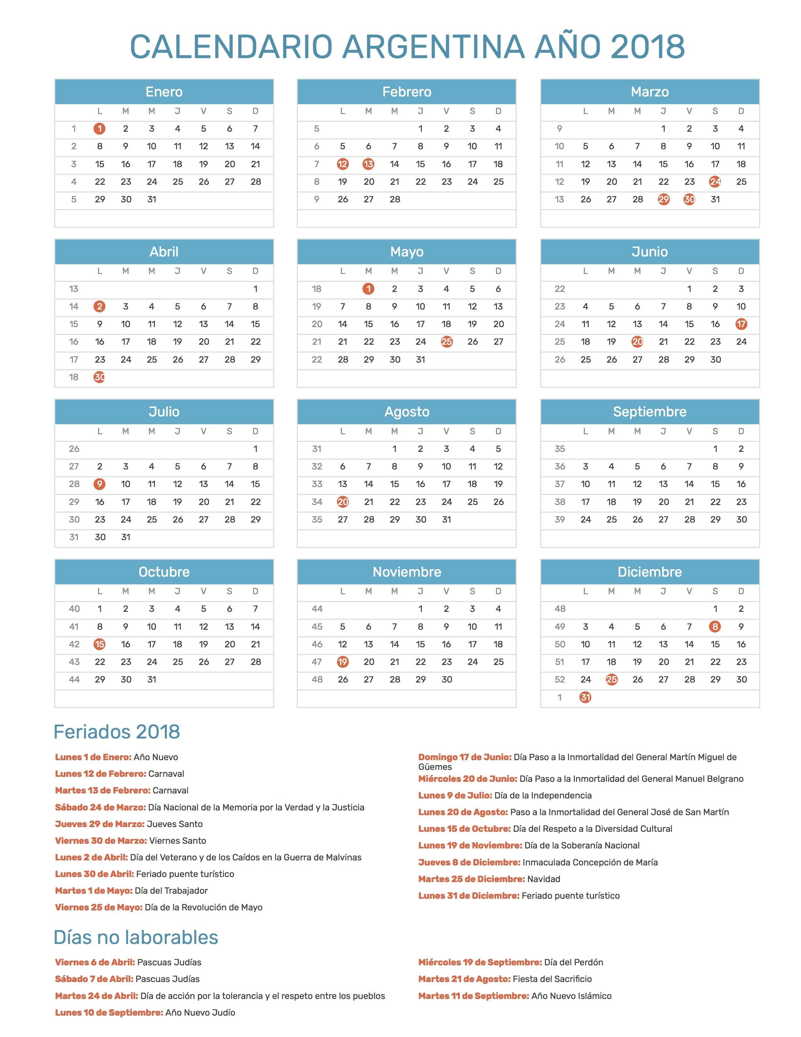 Calendario Argentina Ao 2018 Feriados