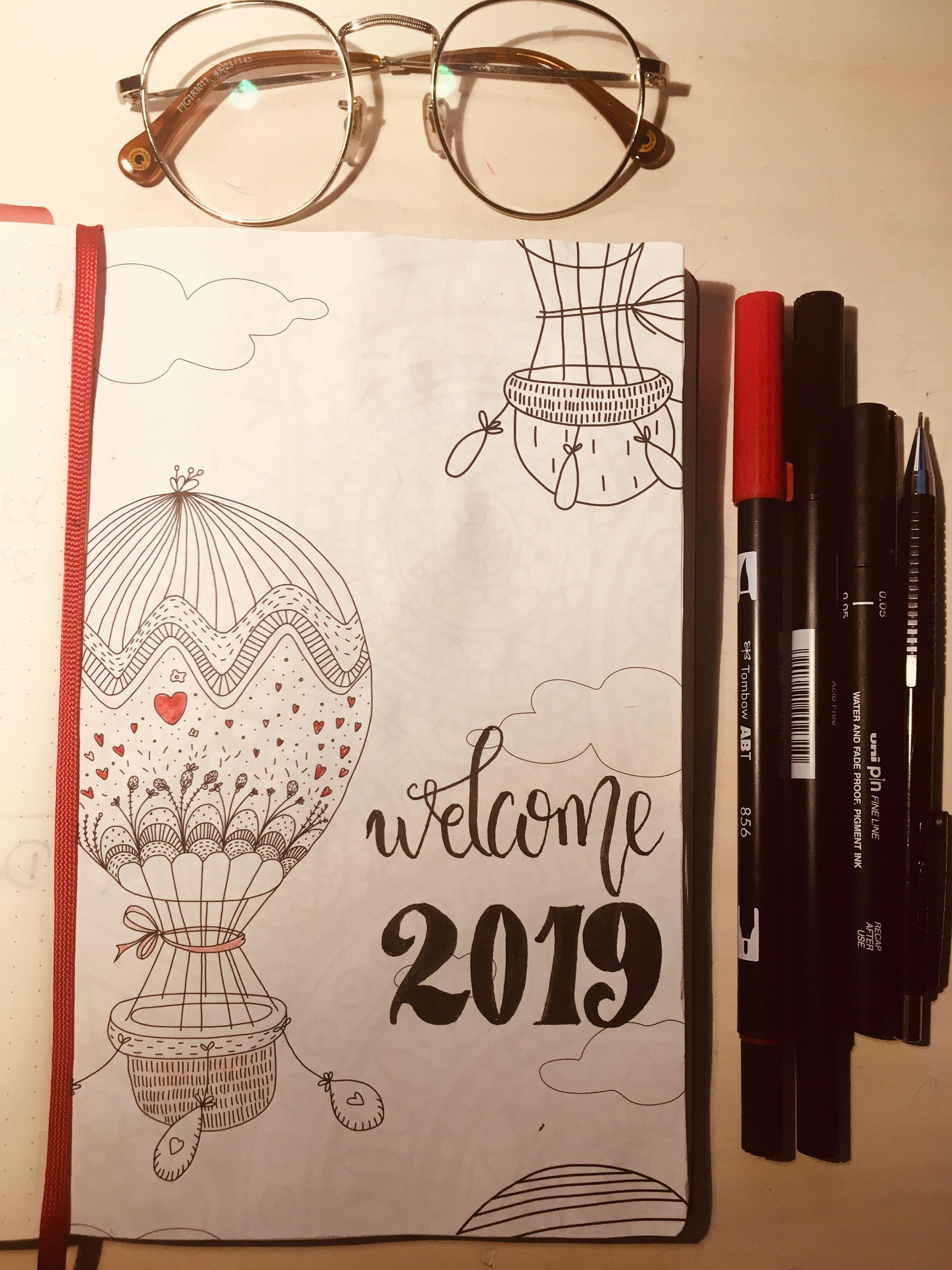 portada cover crafts lettering bujo 2019 navidad a±onuevo