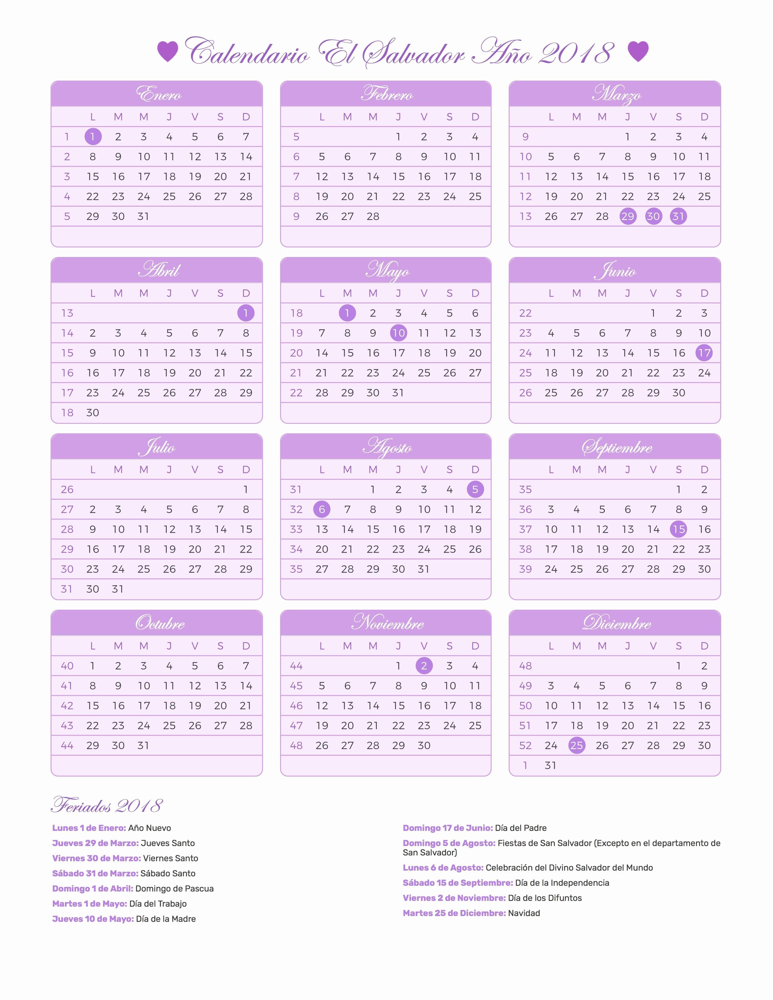 Cada Cuanto Se Repiten Los Calendarios 2019 Calendario El Salvador Ano 2018 Feriados