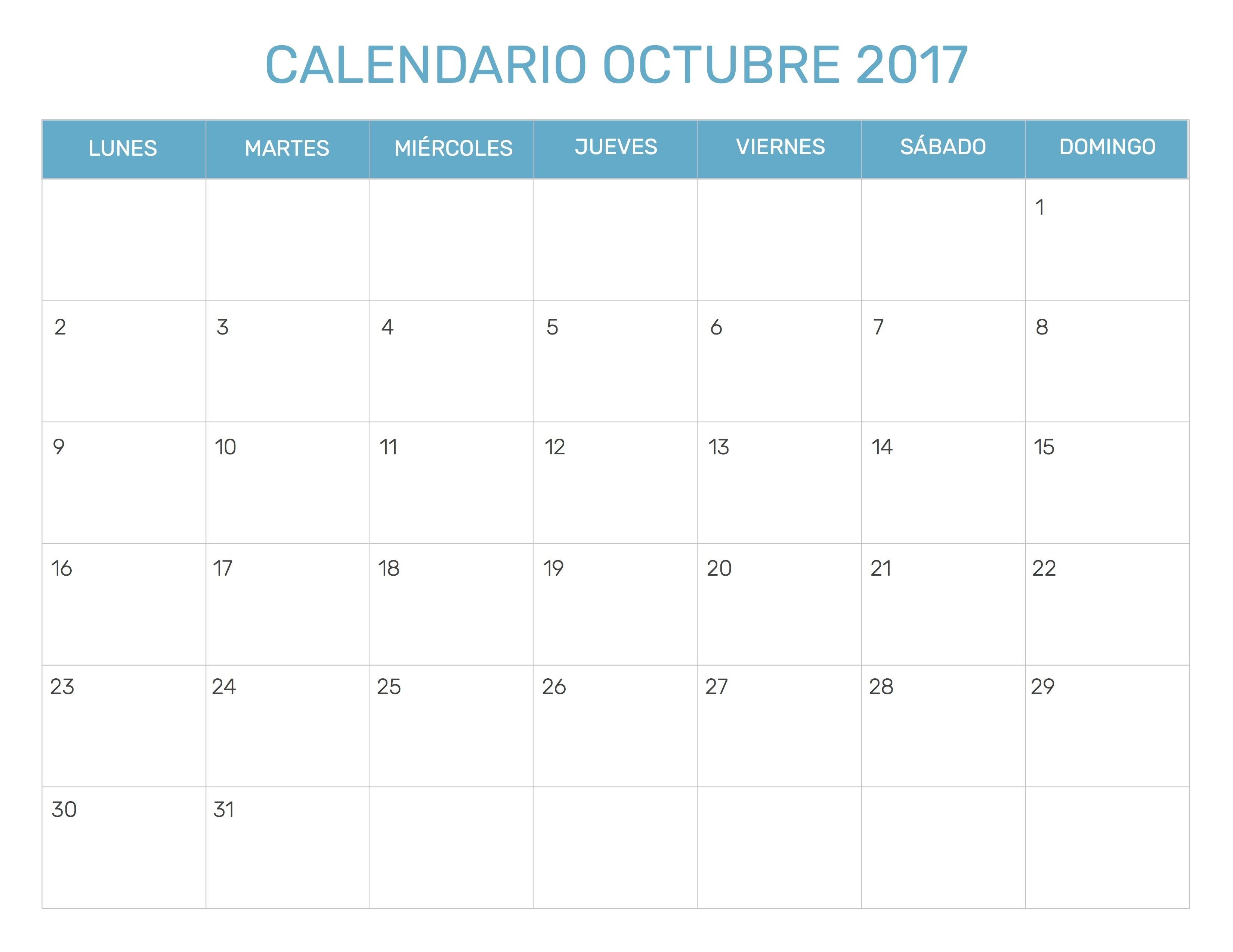 Calendario Mes Octubre 2017 · Calendario Octubre 2017 Para Imprimir Icalendario