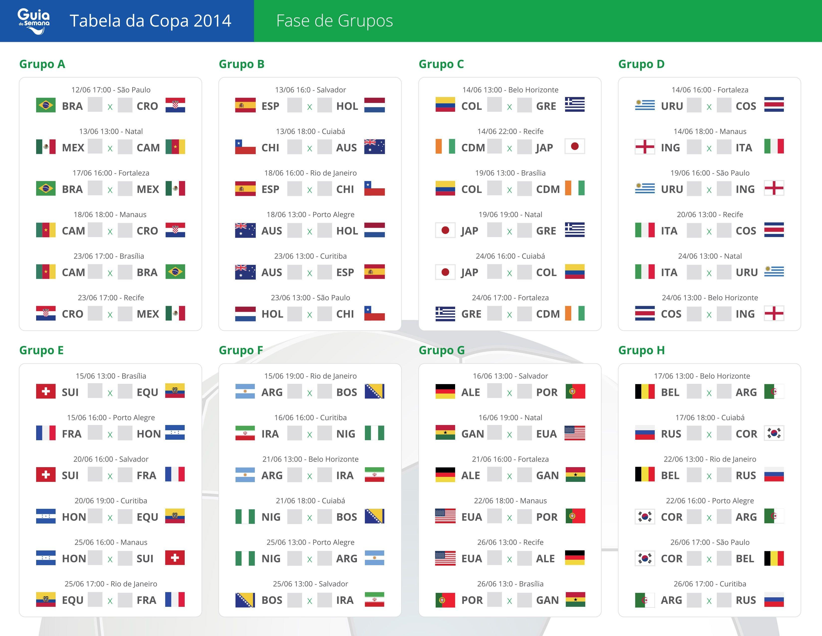Resultado de imagem para calendario jogos copa do mundo 2018 Fifa Sports Leo