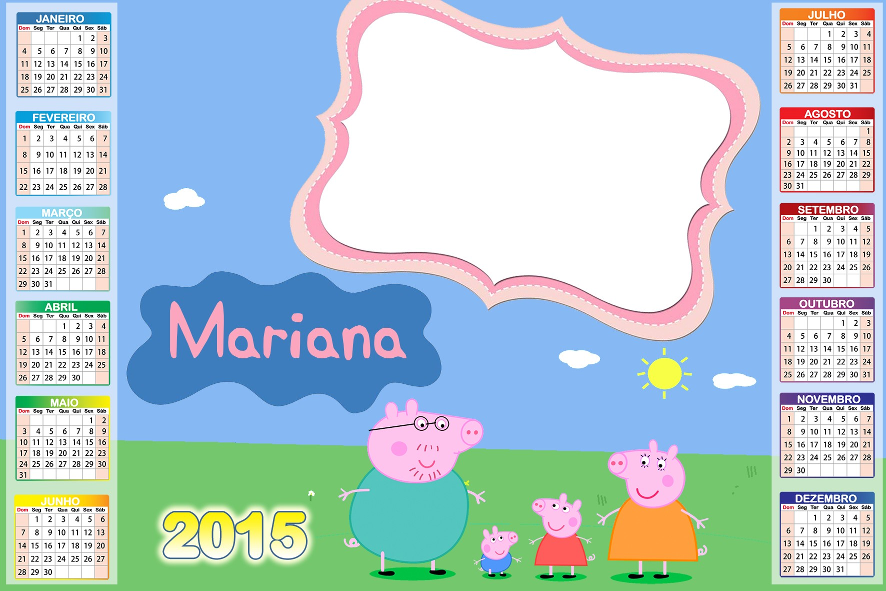 calendario c ima peppa pig peppa pig