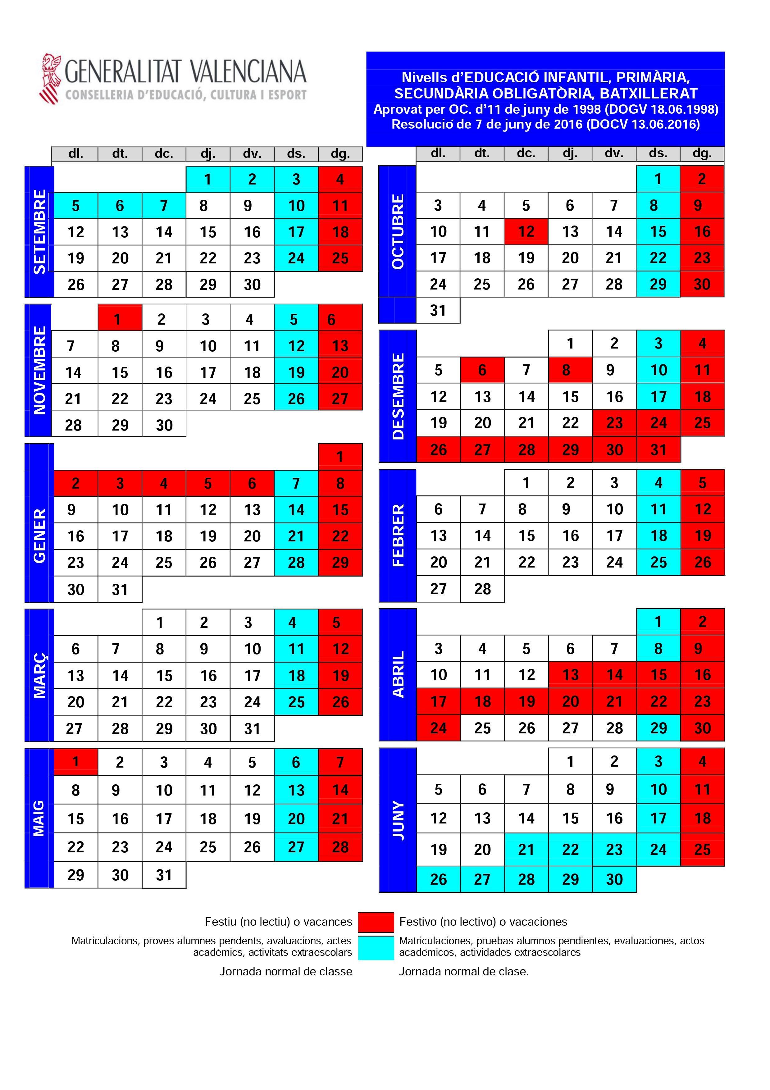 Calendario Escolar unidad Valenciana