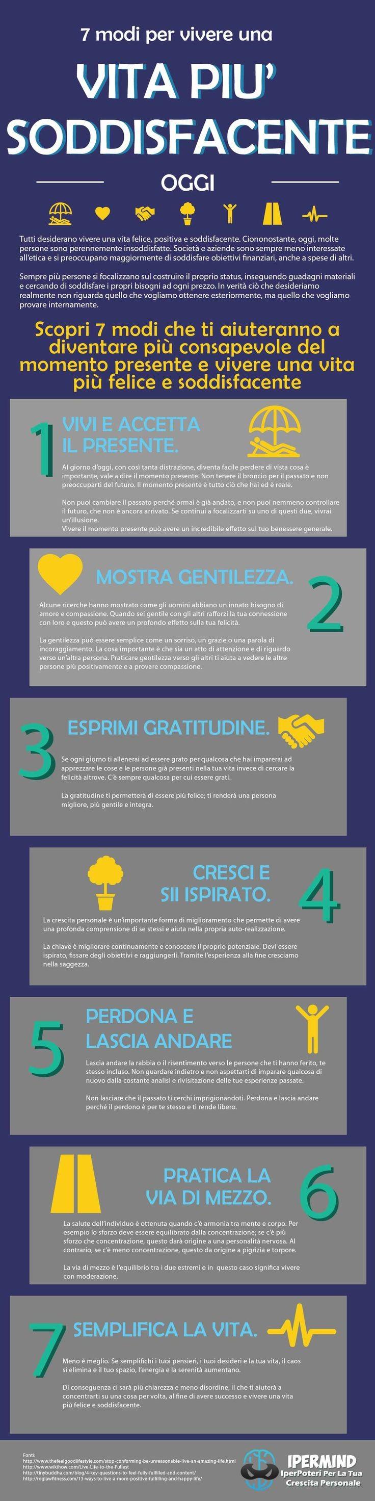 7 modi per vivere una vita soddisfacente
