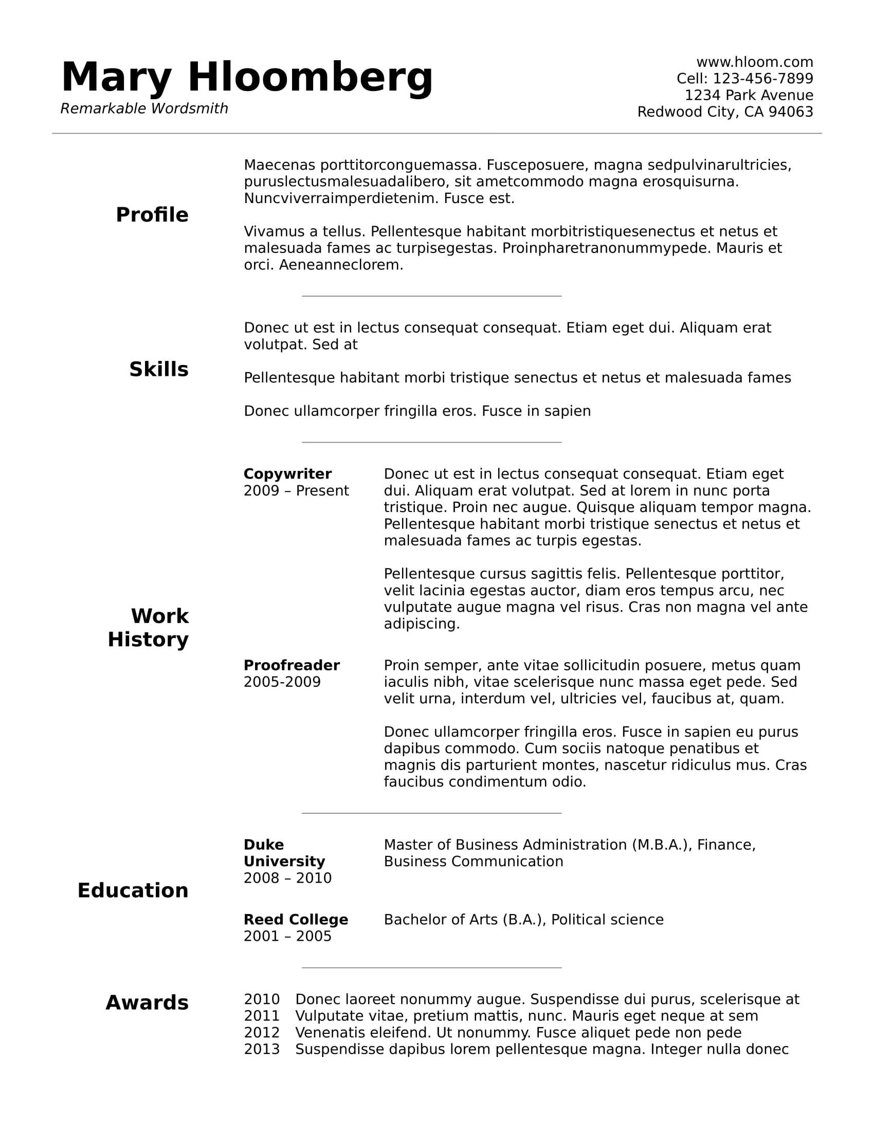 Curriculum Vitae Basico Word Para Descargar