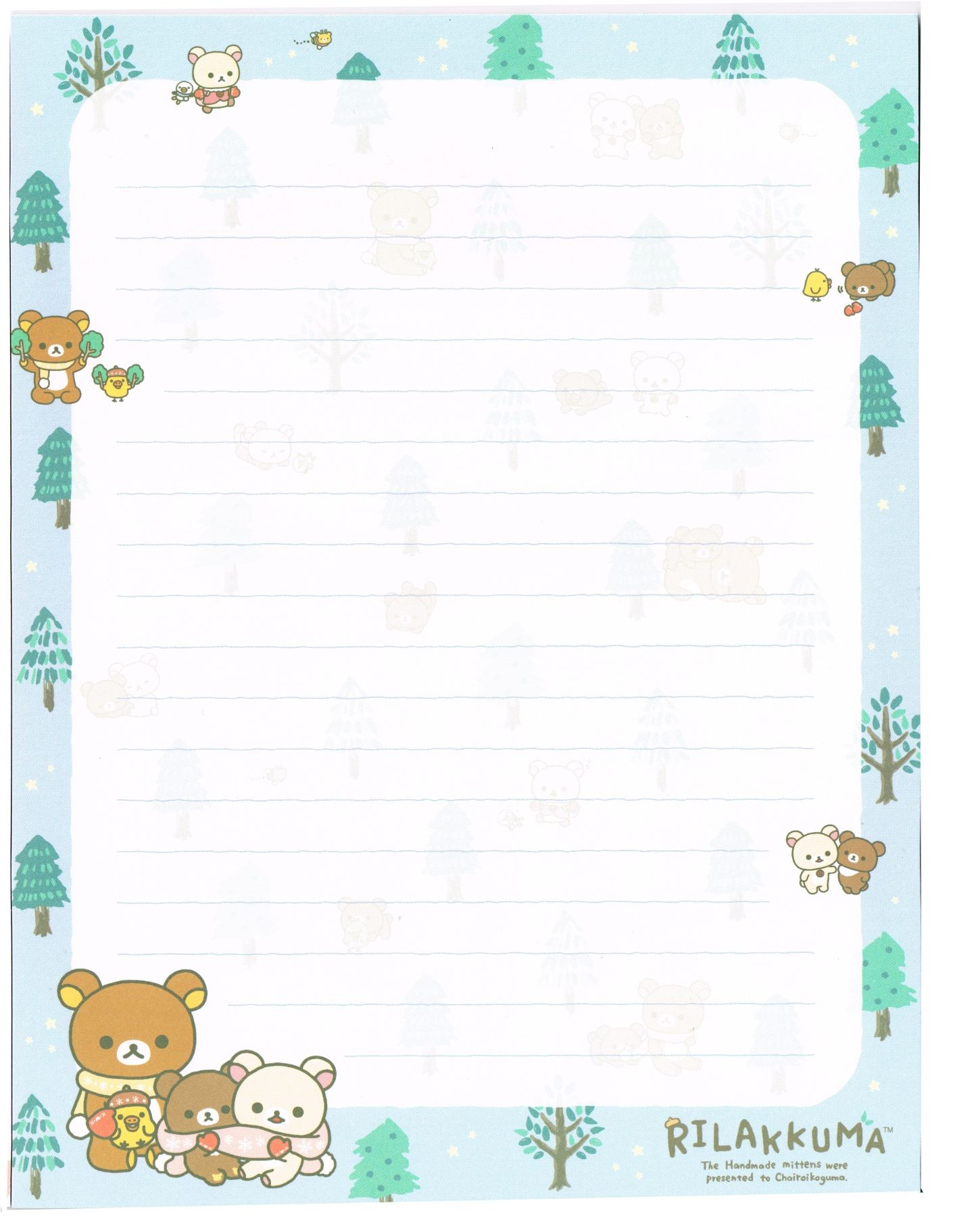 free printable winter Nordic forest writing memo pad sheet rilakkuma チロリアン