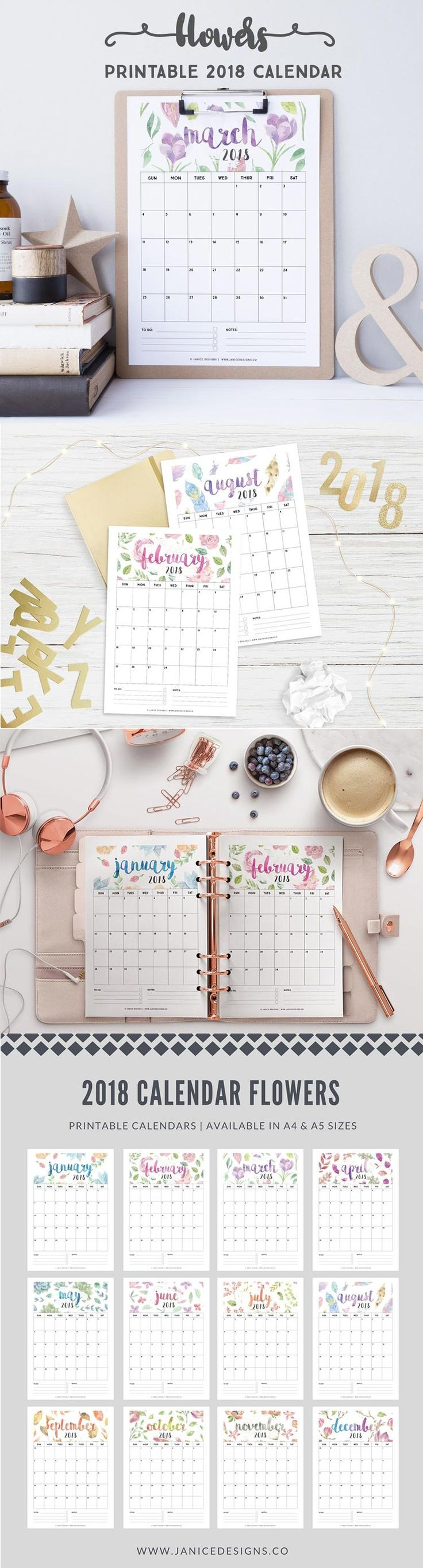 2018 Calendar Flowers