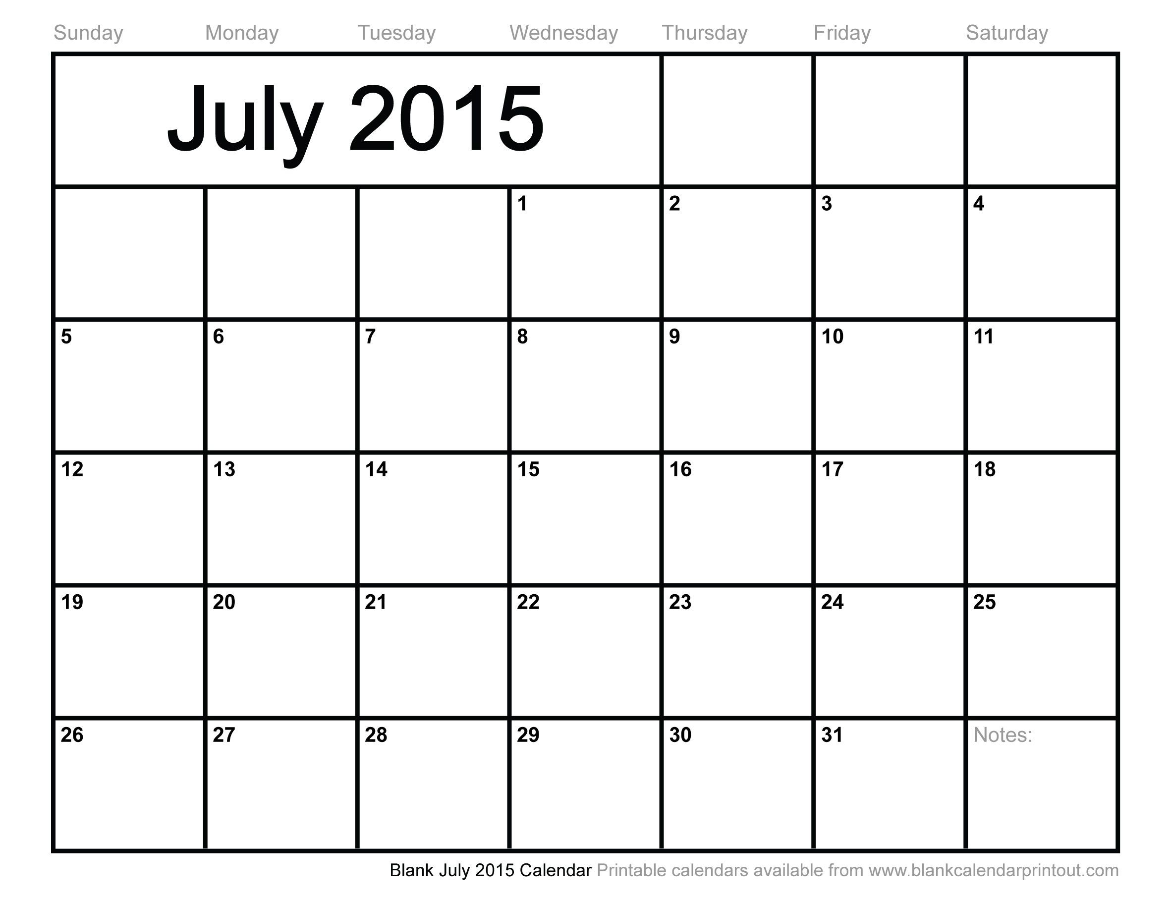 monthly calendar july 2015 Google Search