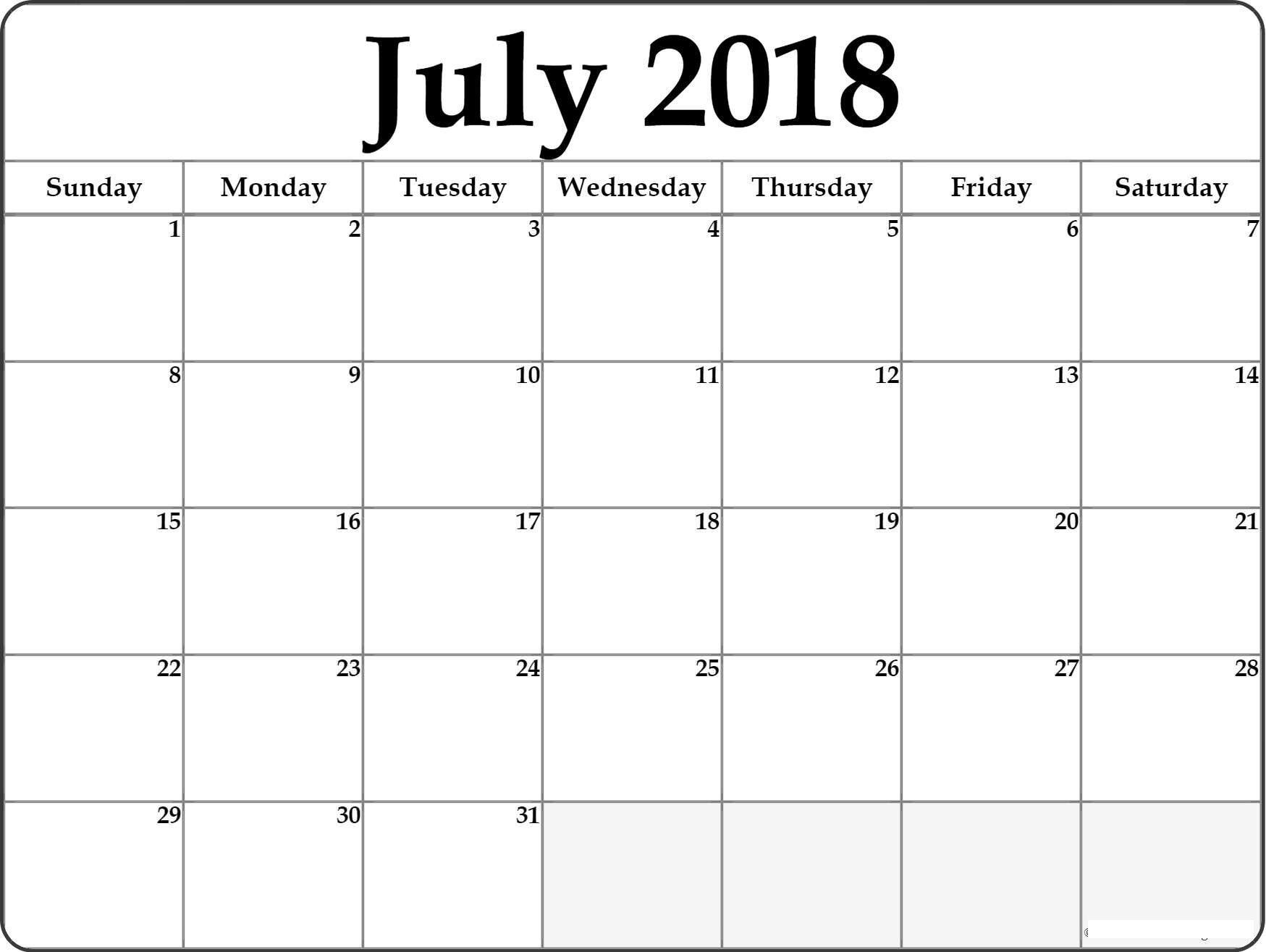 July 2018 HD Calendar July 2018 Calendar PDF Word Excel Vertical and Landscape
