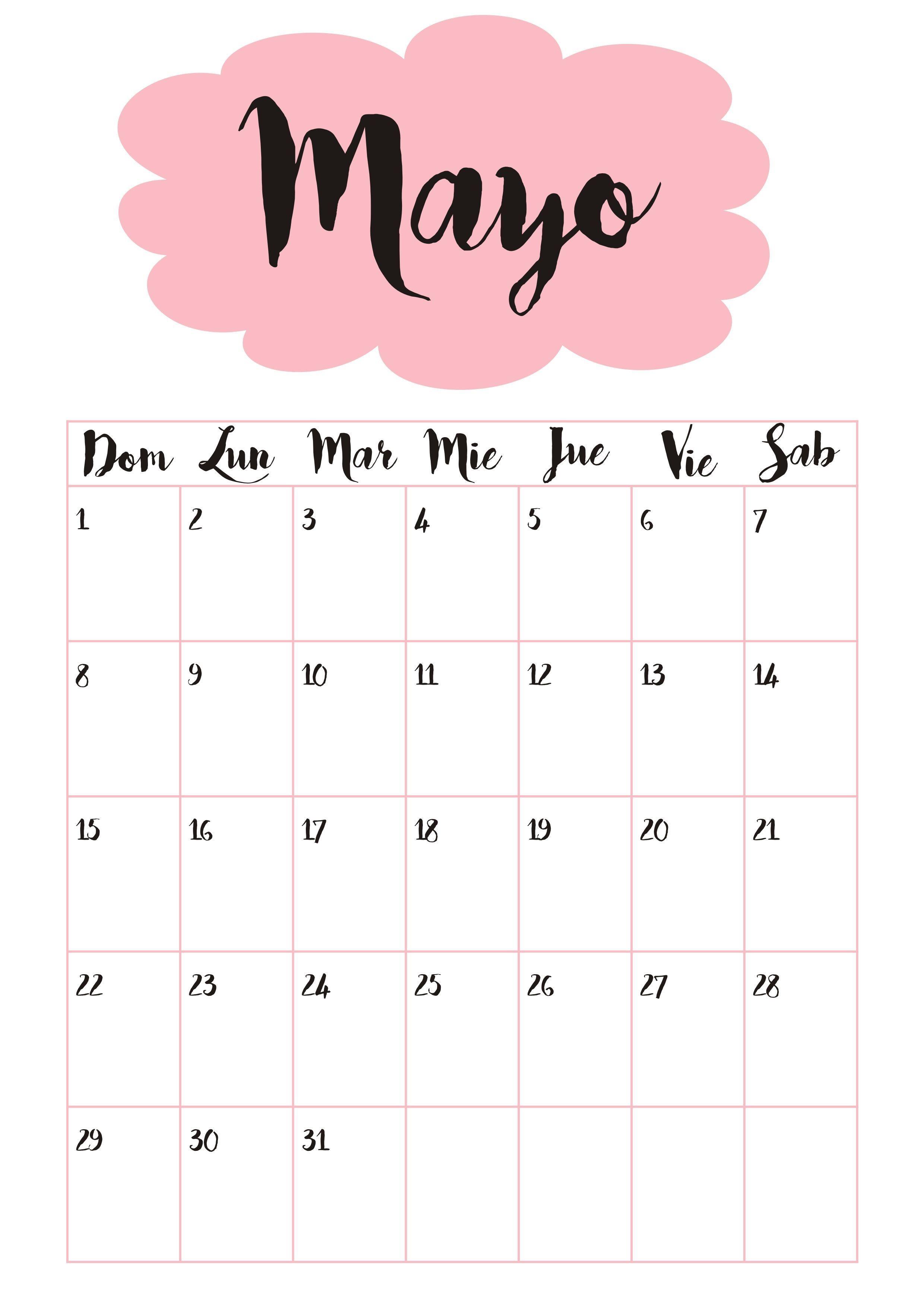 Calendario Semanal Abril 2019 Para Imprimir Recientes Calendario 5 Mayo ☼ Ejersisios Pinterest