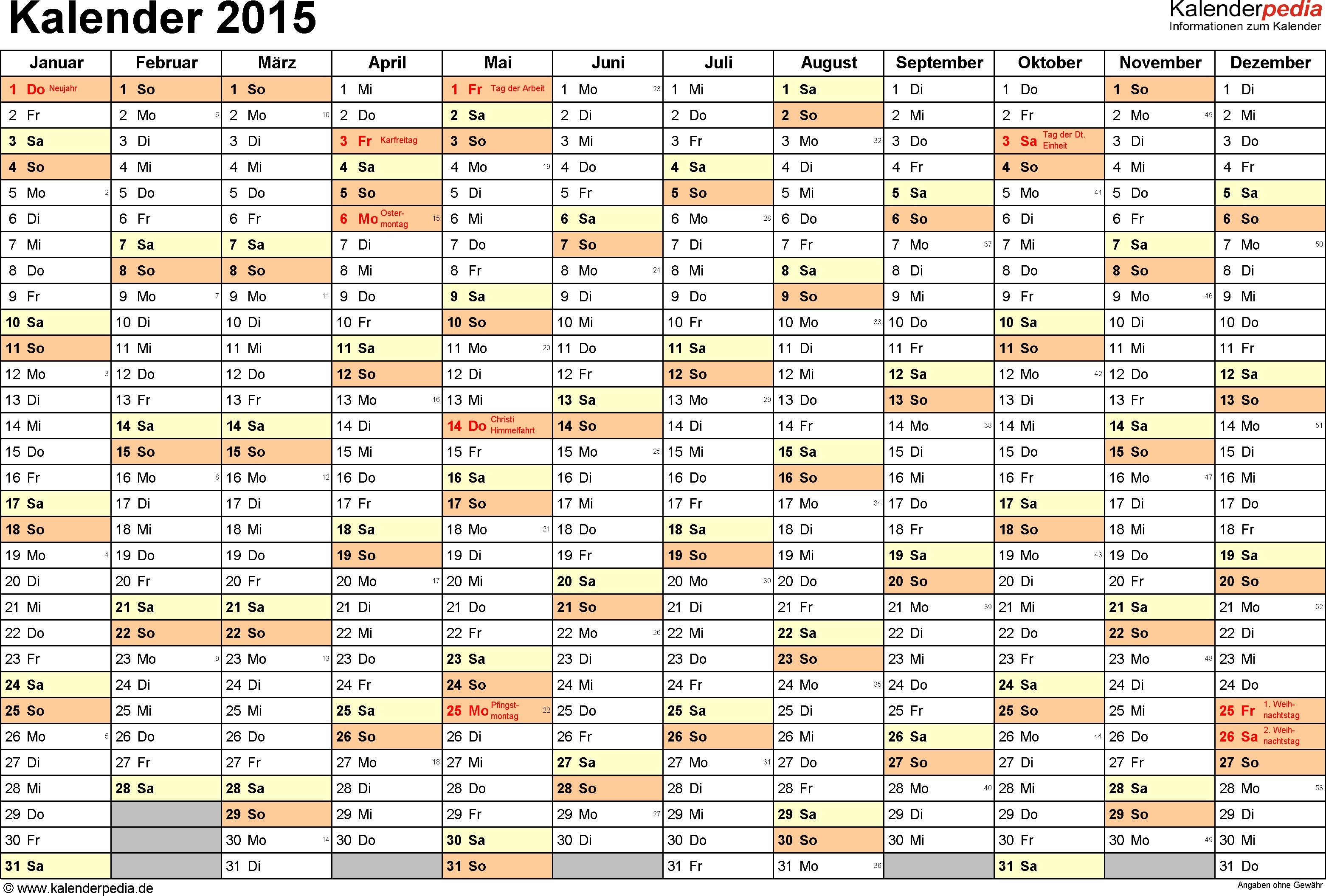 Kalender 2015 Zum Ausdrucken Als Pdf 16 Vorlagen Kostenlos