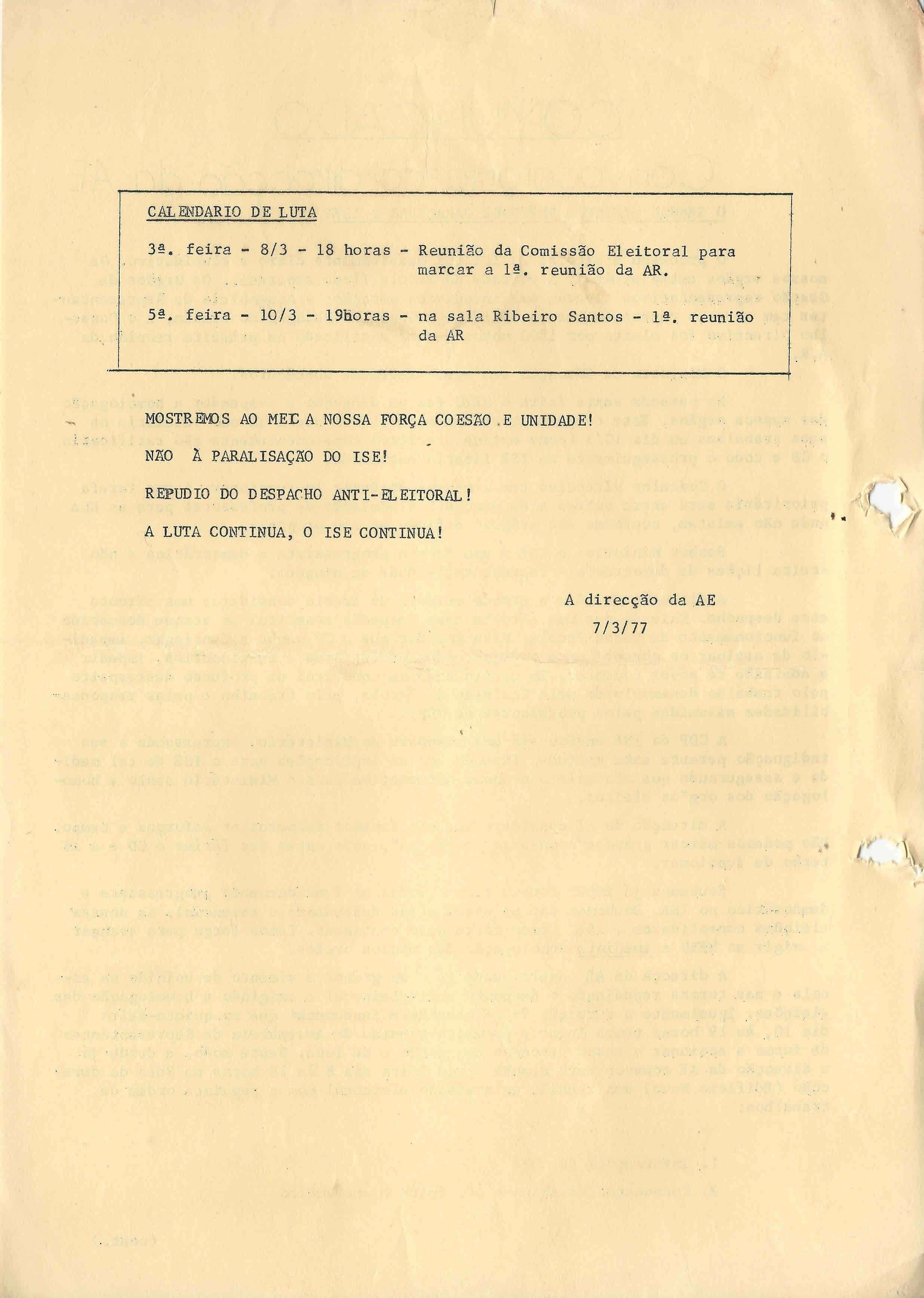 AE – ISE – 1977 – EPHEMERA – Biblioteca e arquivo de José Pacheco Pereira