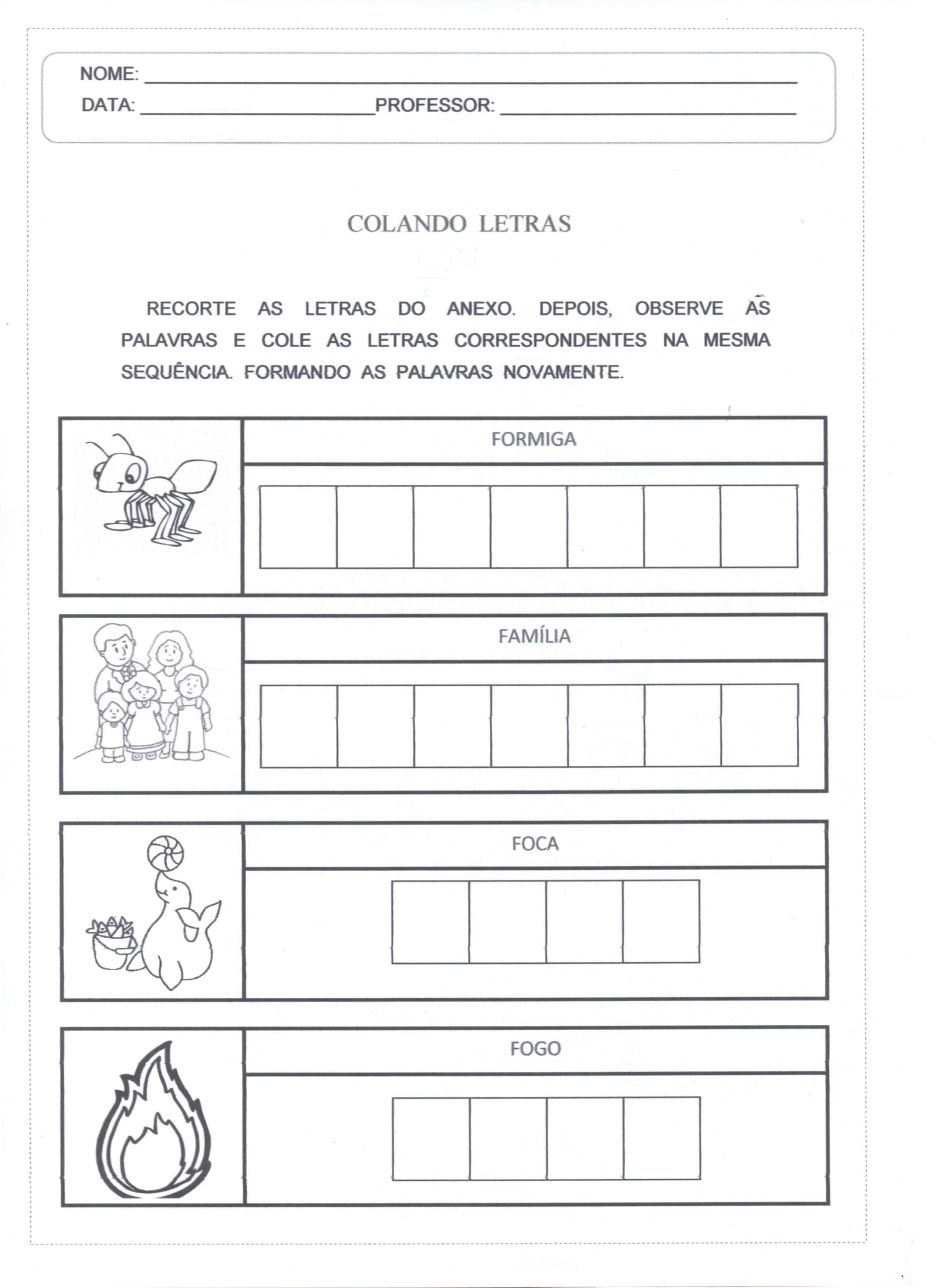 Atividade Colando Letras folha 01
