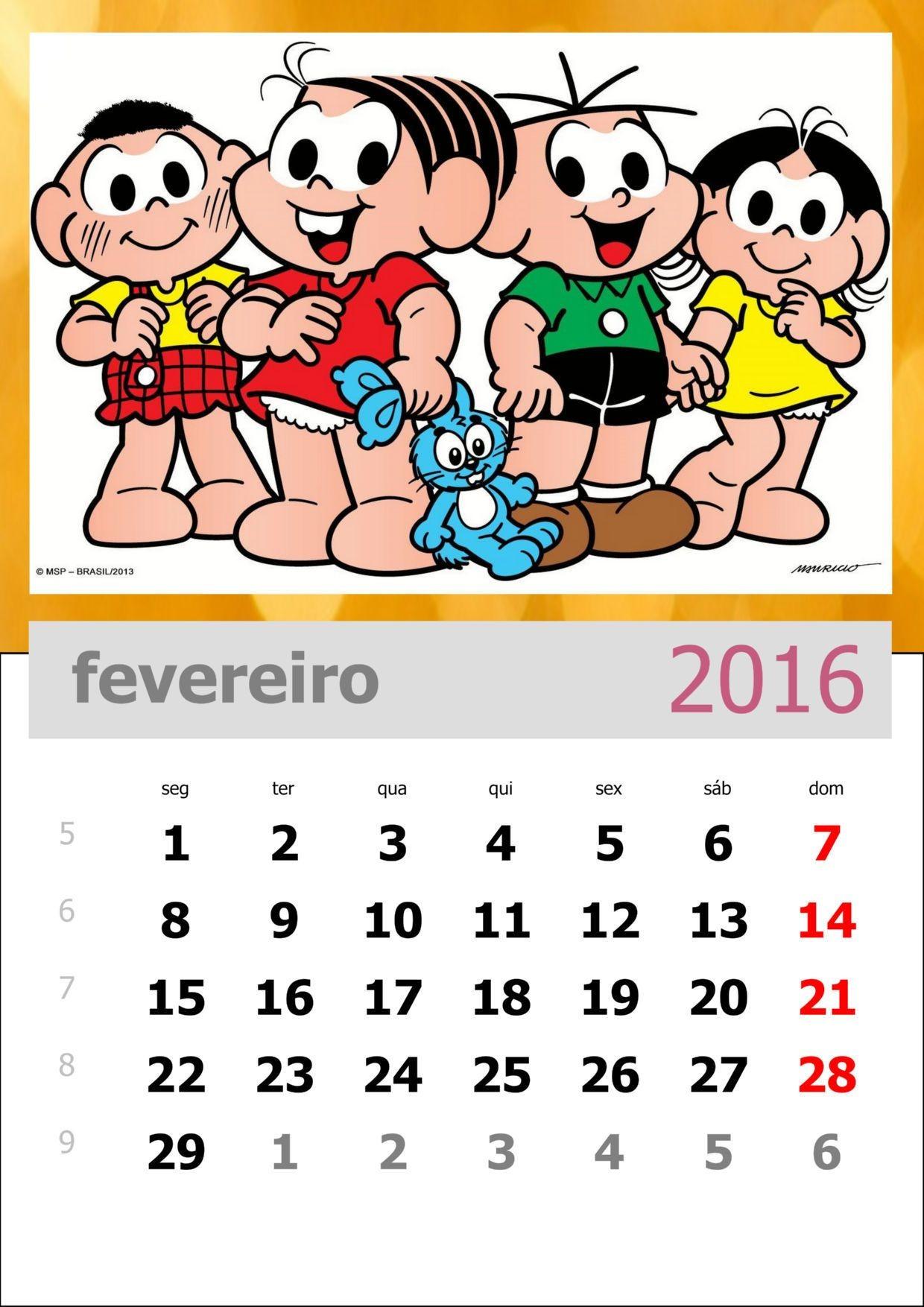 Calendário 2016 da Turma da M´nica para imprimir Cantinho Do Saber Fevereiro Secondary School