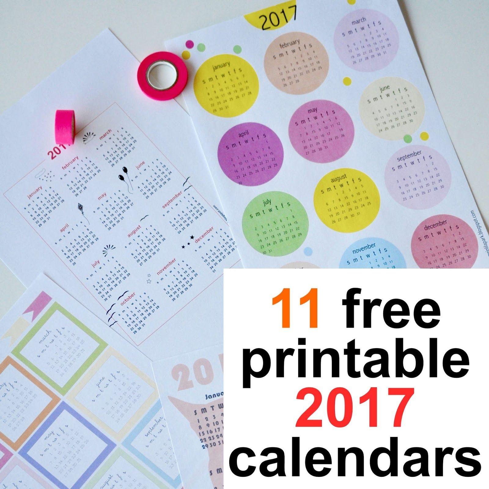 Free printable 2017 calendars round up