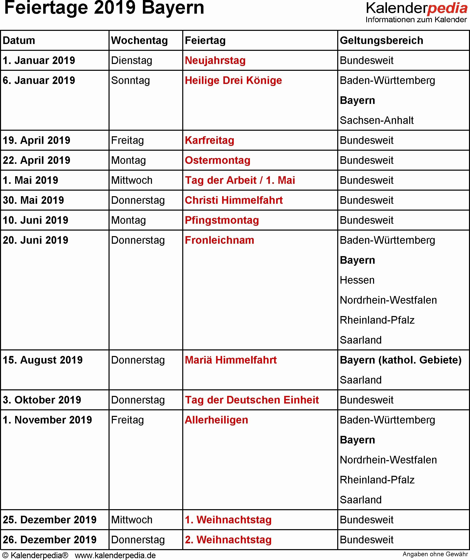 Bayern Kalender 2019 2020 Feiertage Feiertage Bayern 2018 2019 2020 Mit Druckvorlagen