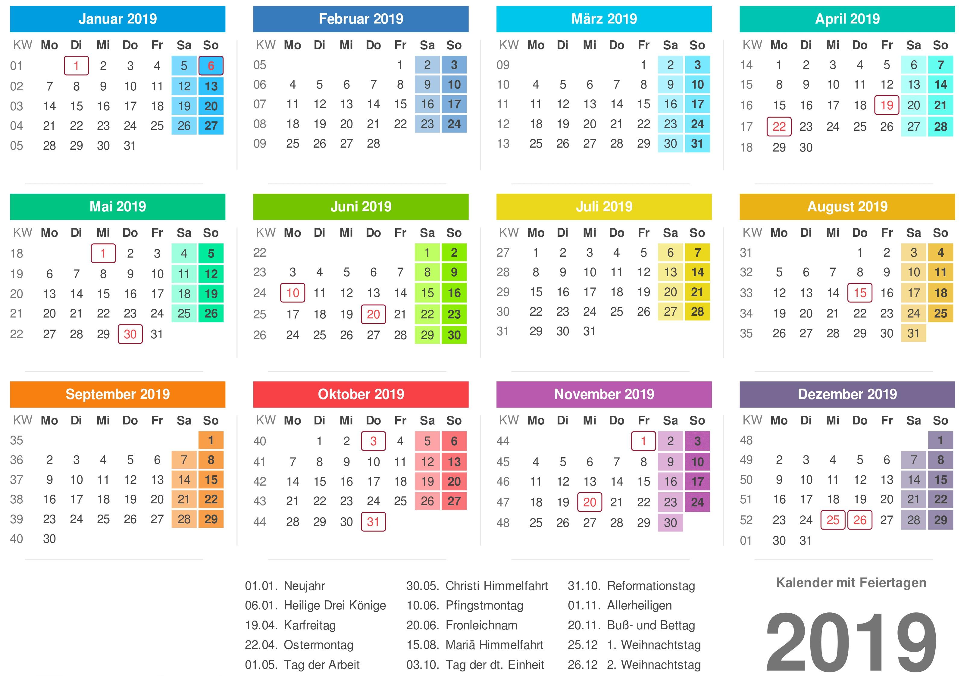 Kalender 2019 Bayern Ausdrucken Ferien Feiertage Excel Pdf Kalender 2019 Zum Ausdrucken Als Pdf Excel Word