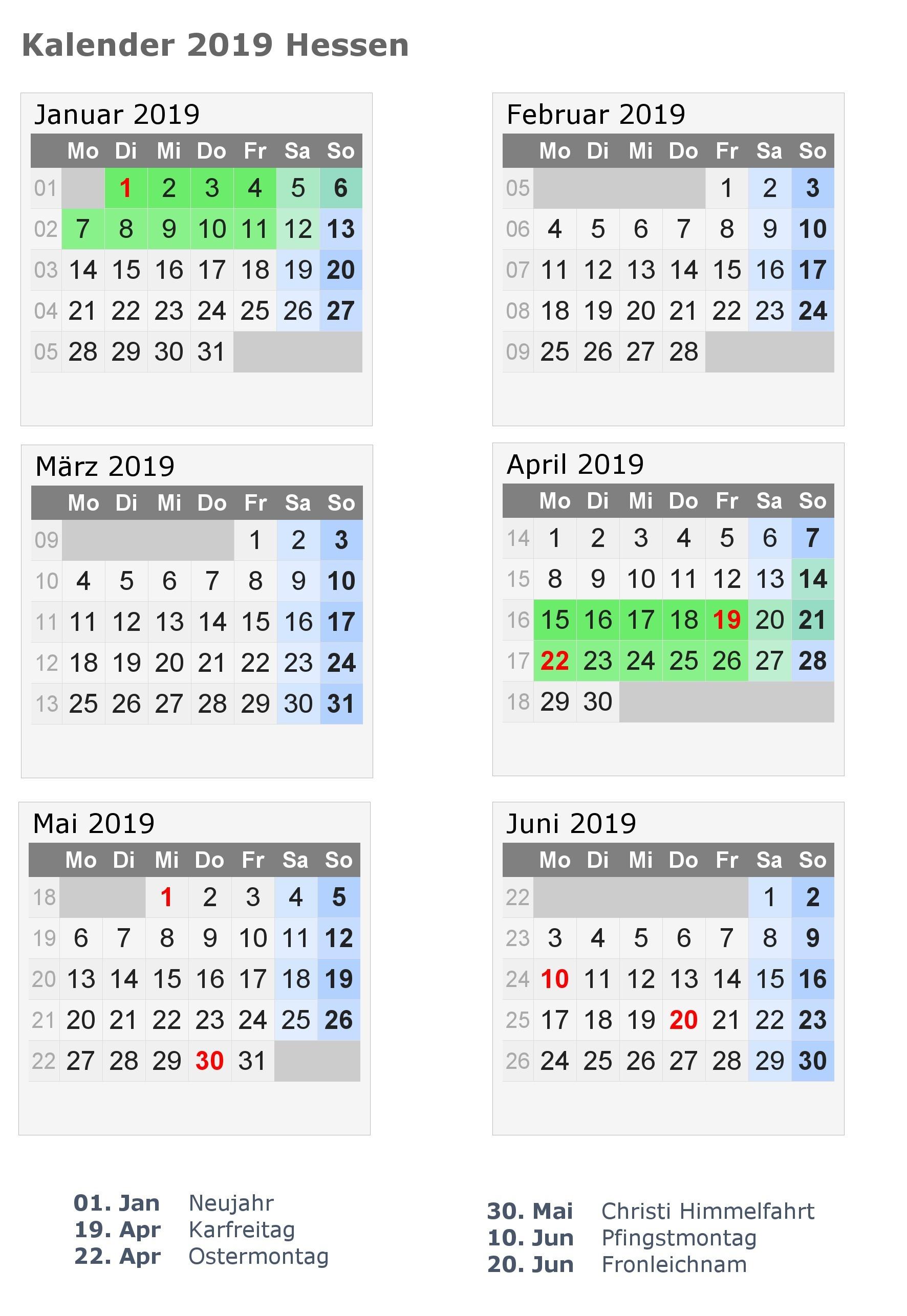 Halbjahreskalender 2019 zum ausdrucken [pdf excel word] kalender