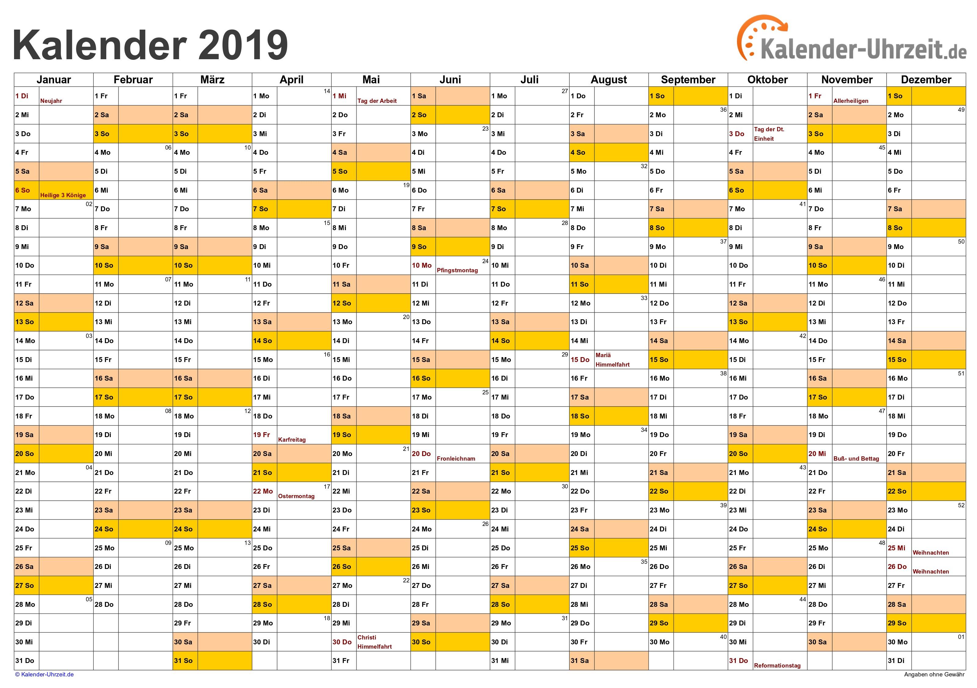 Excel Kalender 2019 Kostenlos