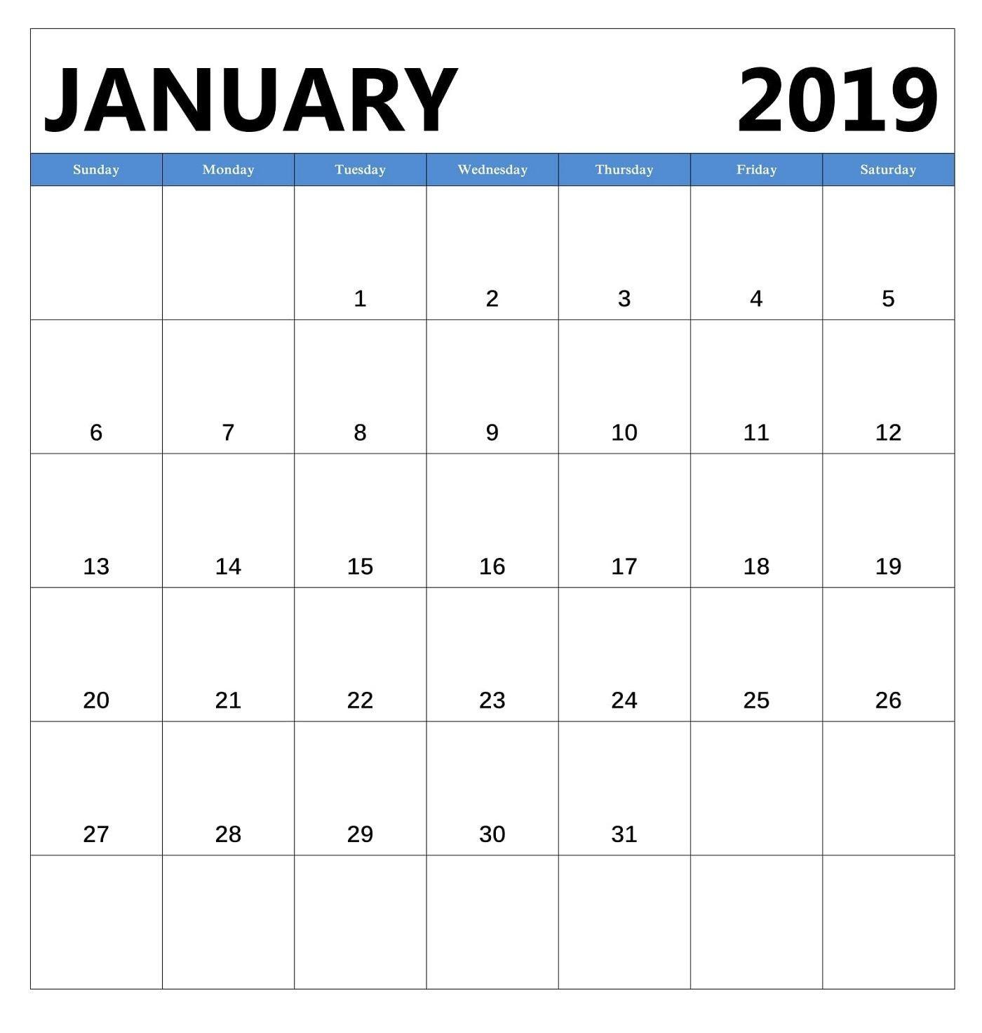Monthly Calendar 2019 Excel Template Más Reciente January 2019 Monthly Calendar Editable January2019calendar