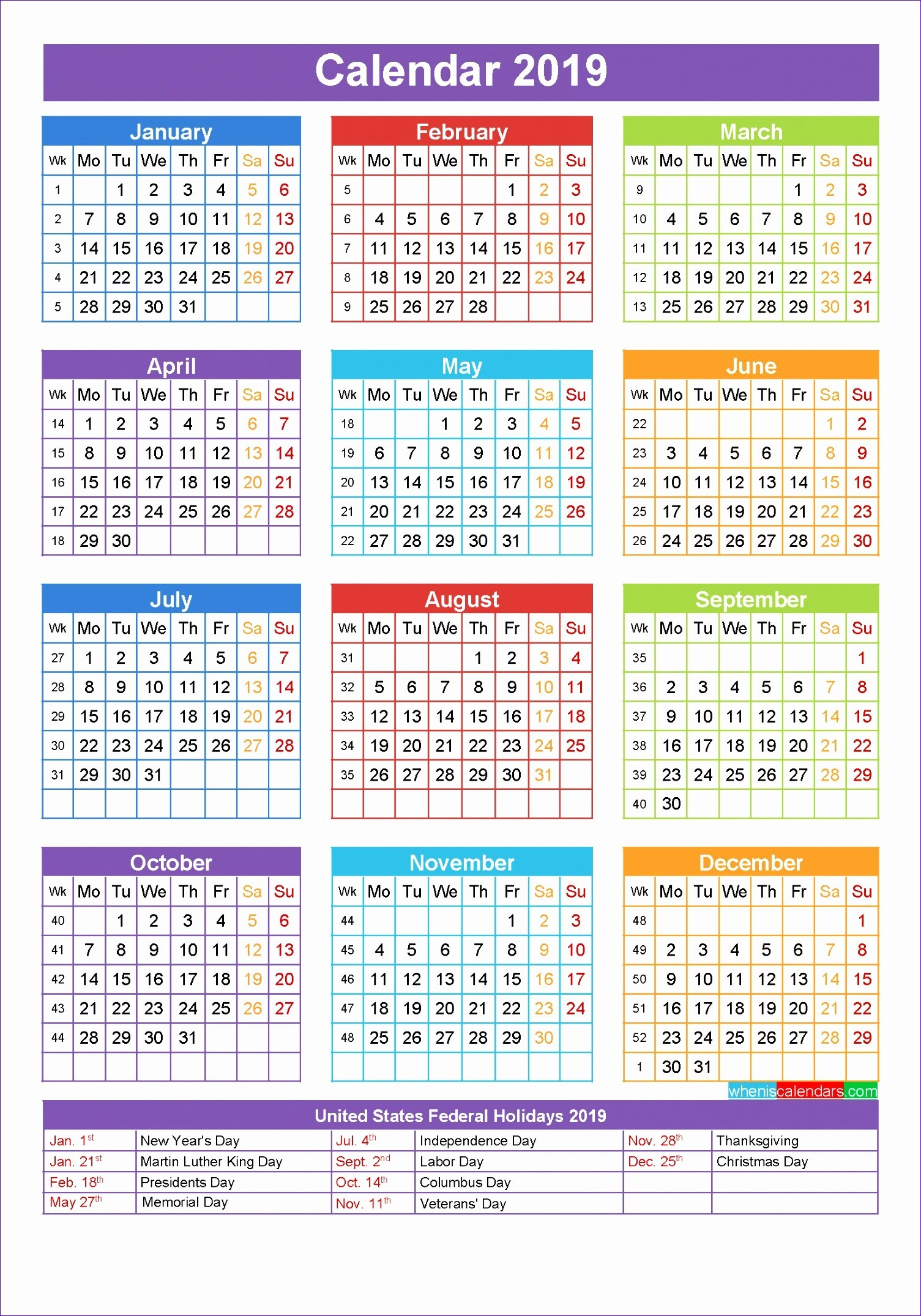 Calendarlabs 2018 Excel Indesign Calendar Template 2019 15 Free