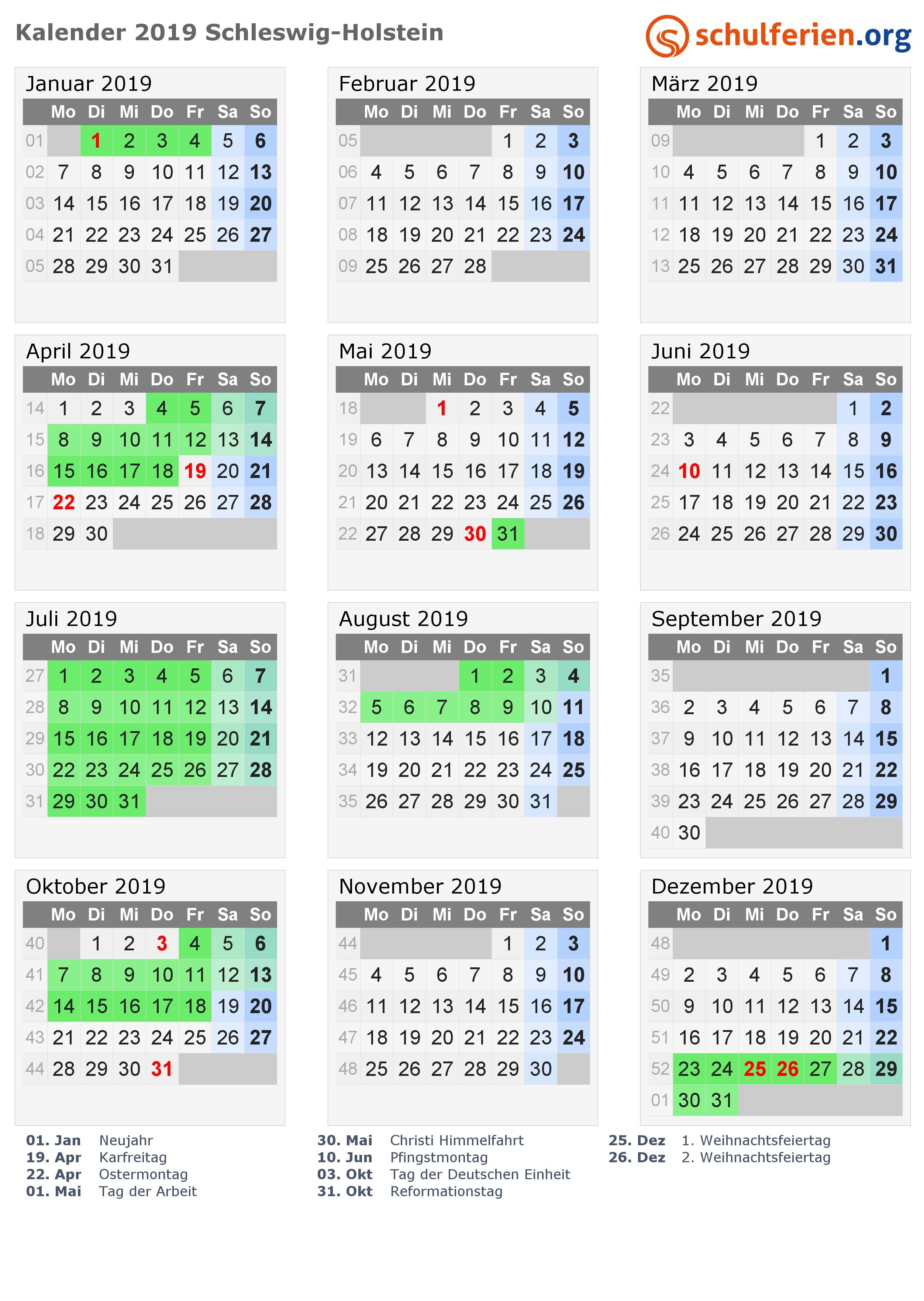 Kalender 2019 mit Ferien und Feiertagen Schleswig Holstein PNG PDF