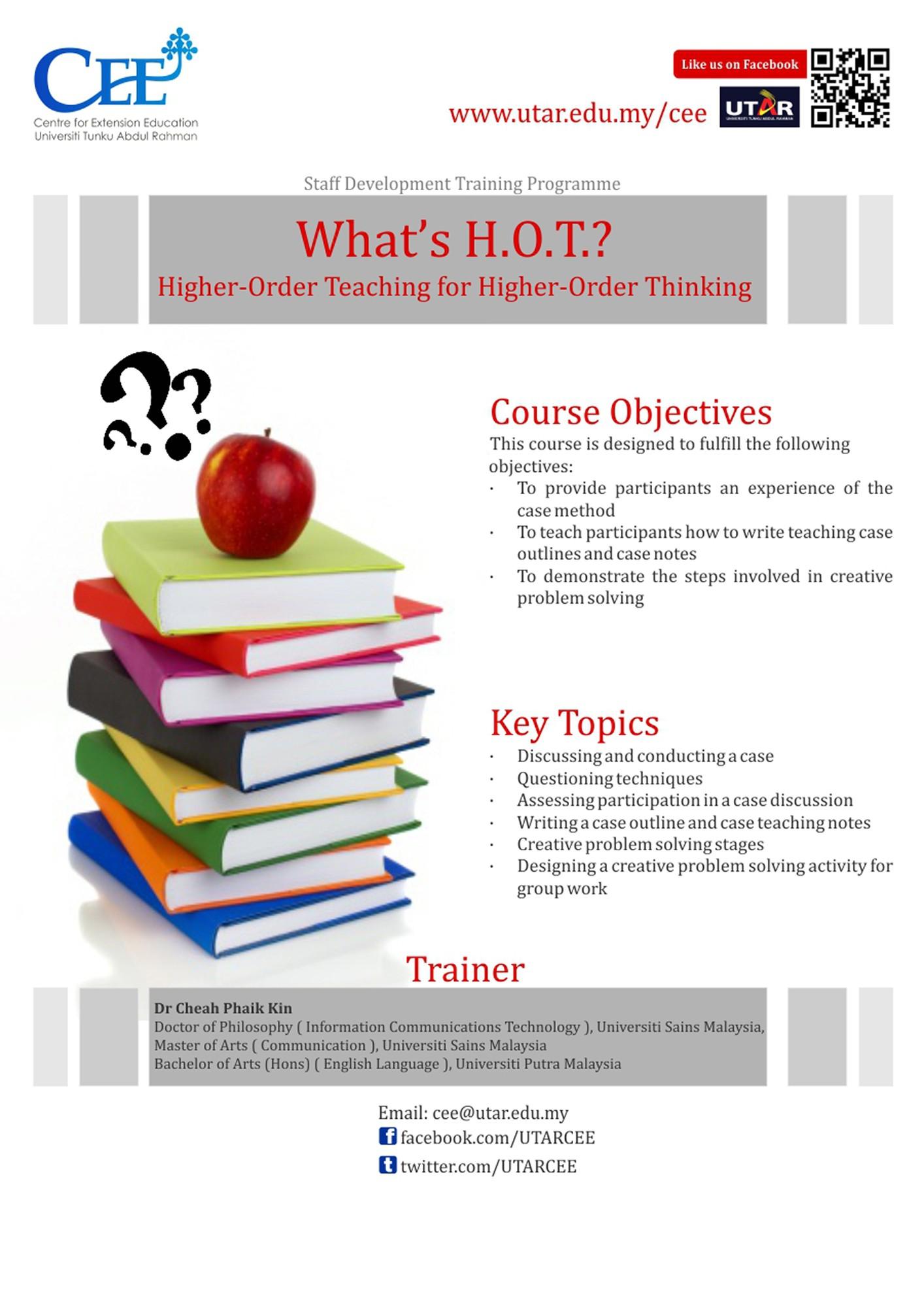 What s H O T Higher Order Teaching for Higher Order Thinking KPR